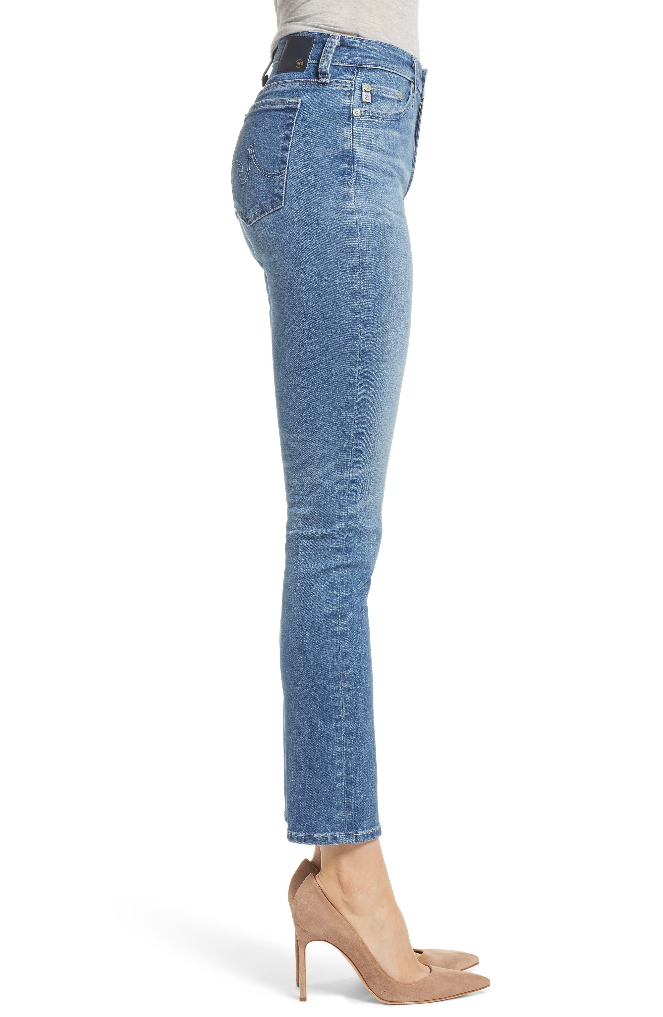 AG, Mari High Waist Slim Straight Leg Jeans, Alternate thumbnail 4, color, 16 YEARS SERENITY