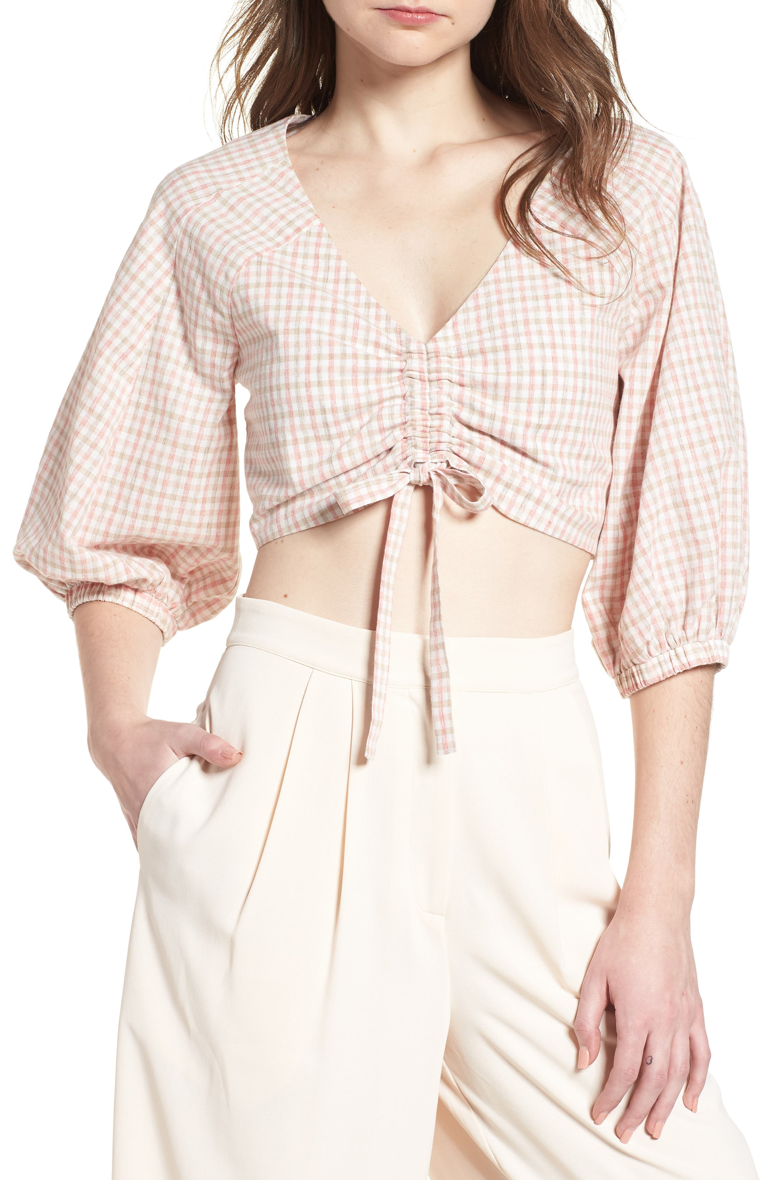 J.O.A. Chriselle x J.O.A. Ruched Front Crop Top, Main, color, 650