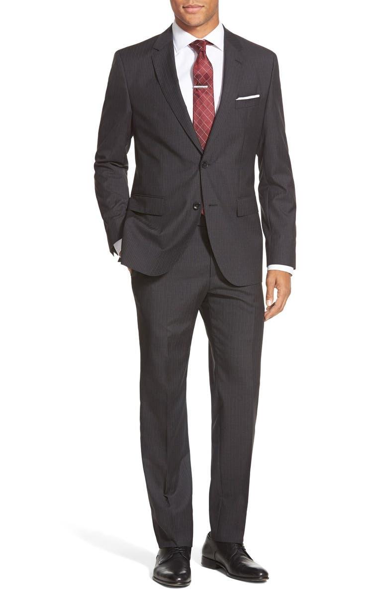165598ff1 ZZDNUHUGO BOSS BOSS 'Johnston/Lenon' Trim Fit Stripe Wool Suit, Main,