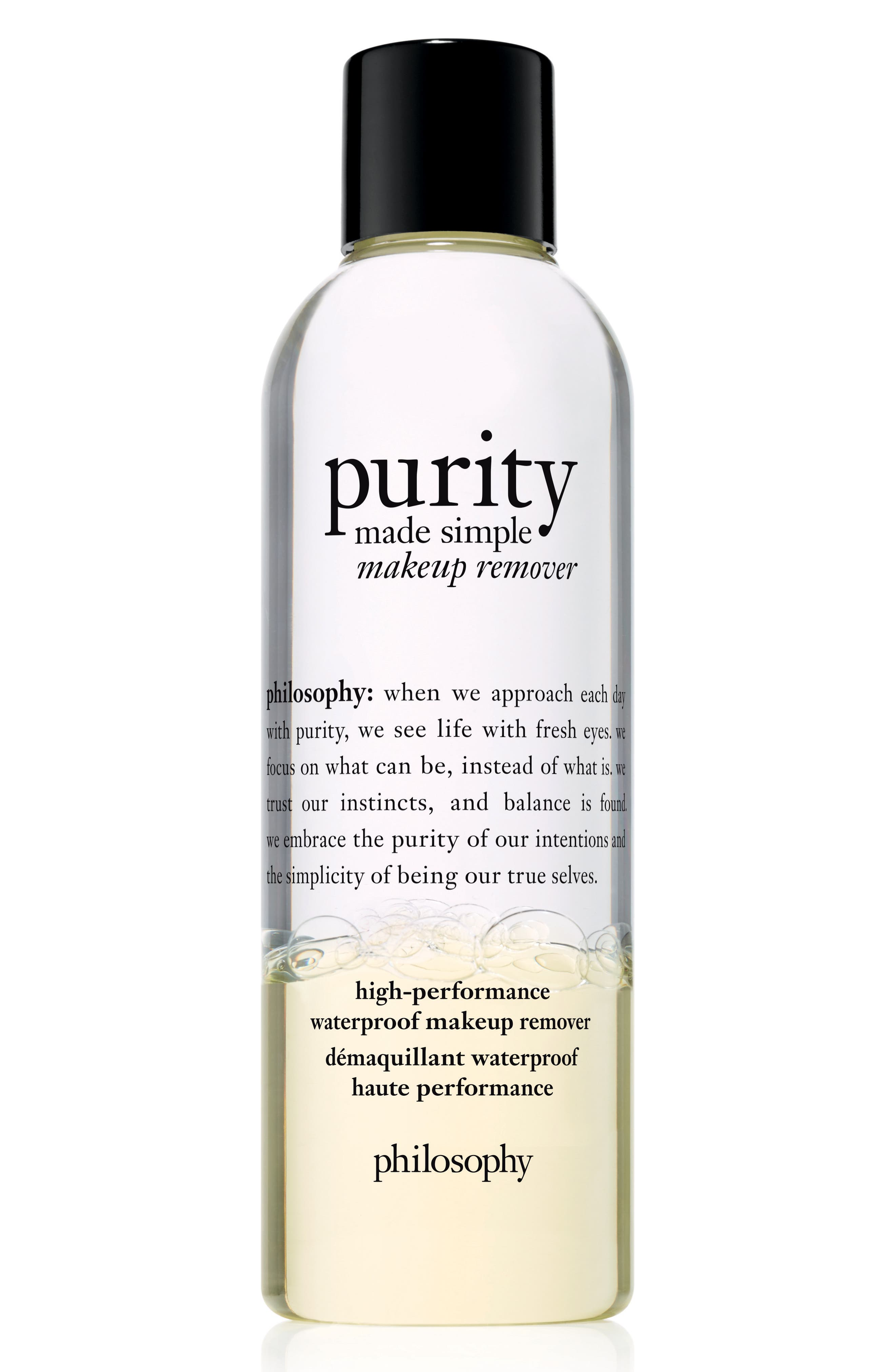 PHILOSOPHY purity made simple high-performance waterproof makeup remover, Main, color, NO COLOR