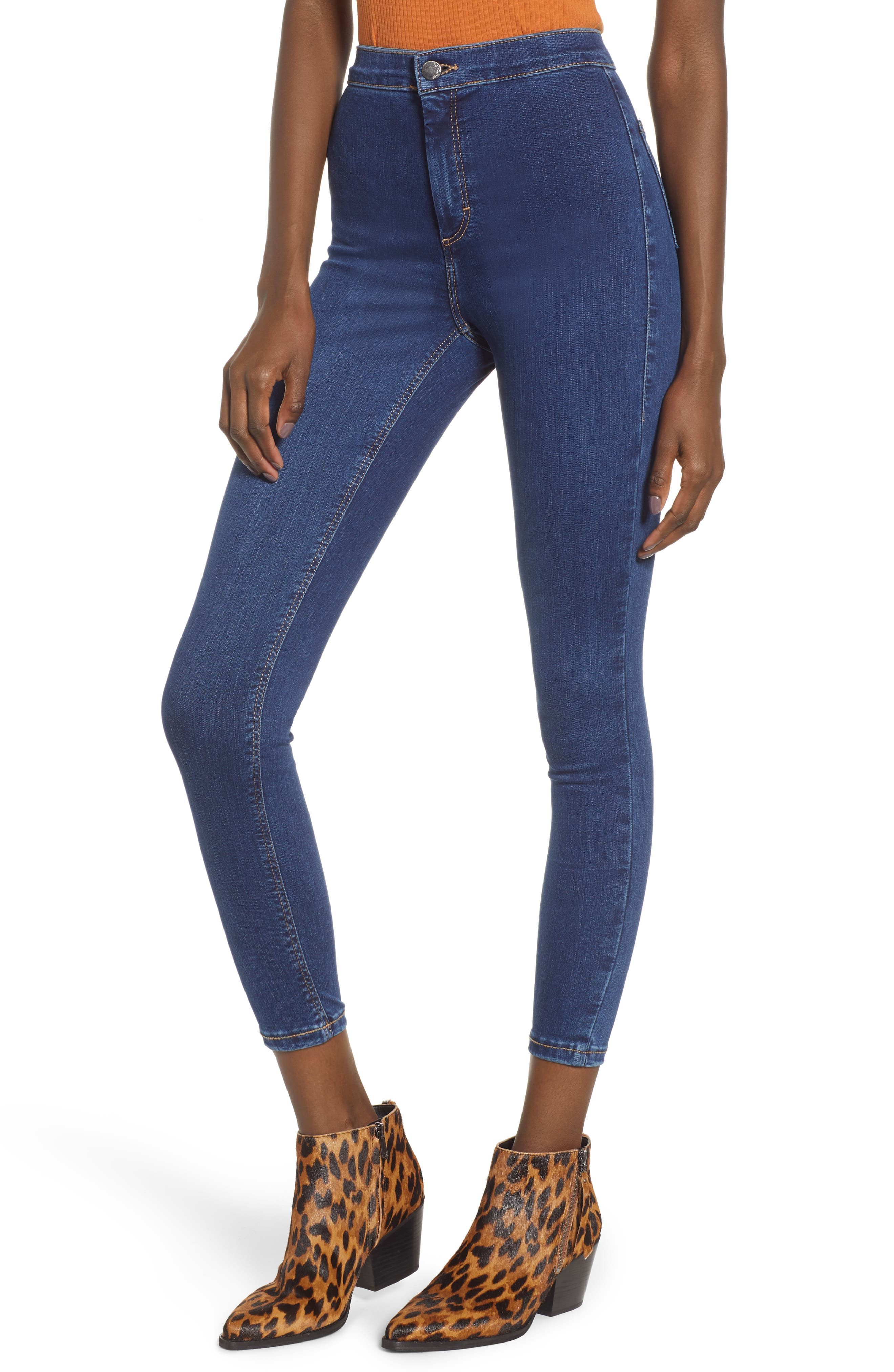 TOPSHOP, Joni High Waist Crop Skinny Jeans, Main thumbnail 1, color, 400