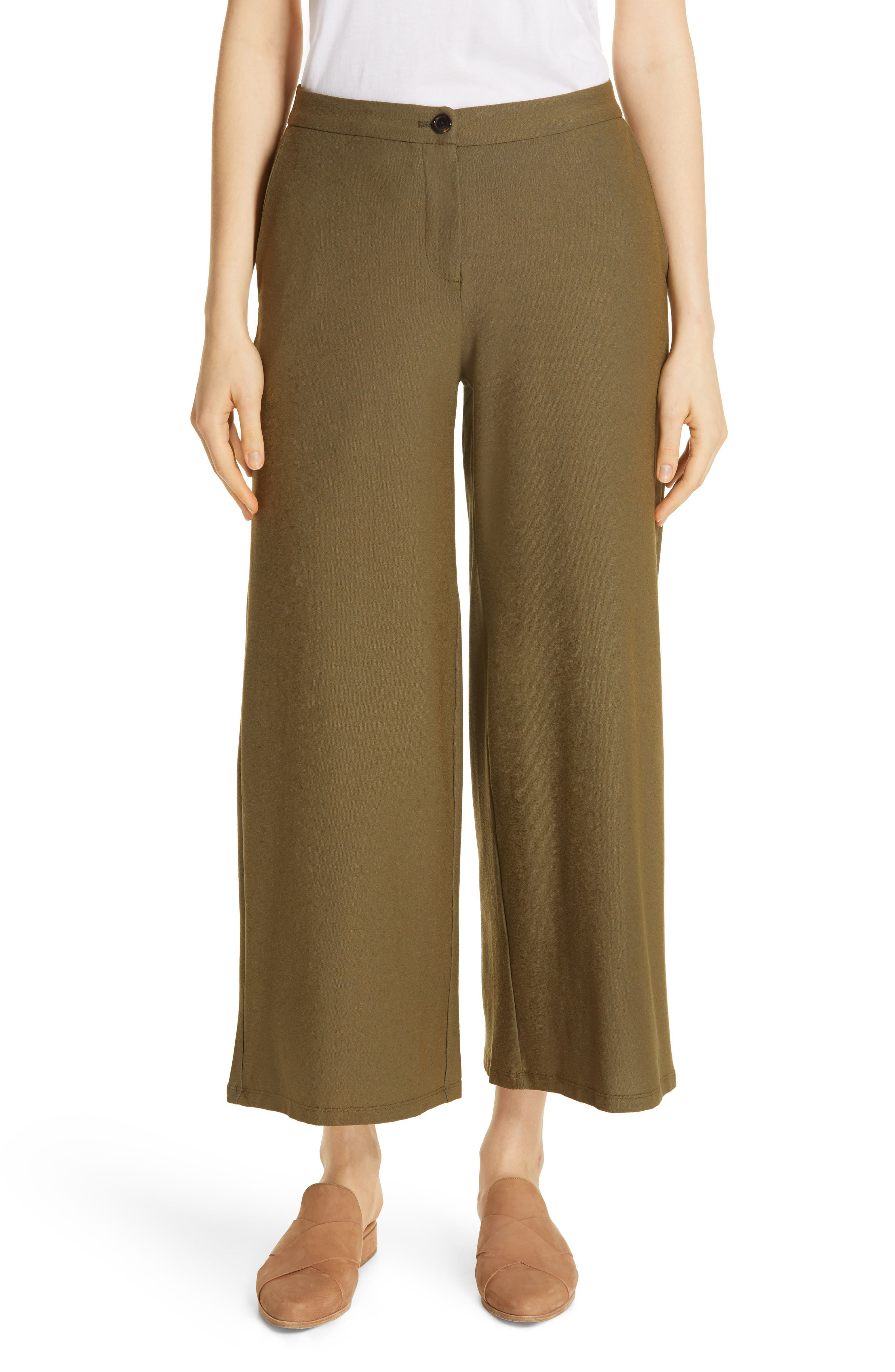 EILEEN FISHER, High Waist Ankle Pants, Main thumbnail 1, color, OLIVE