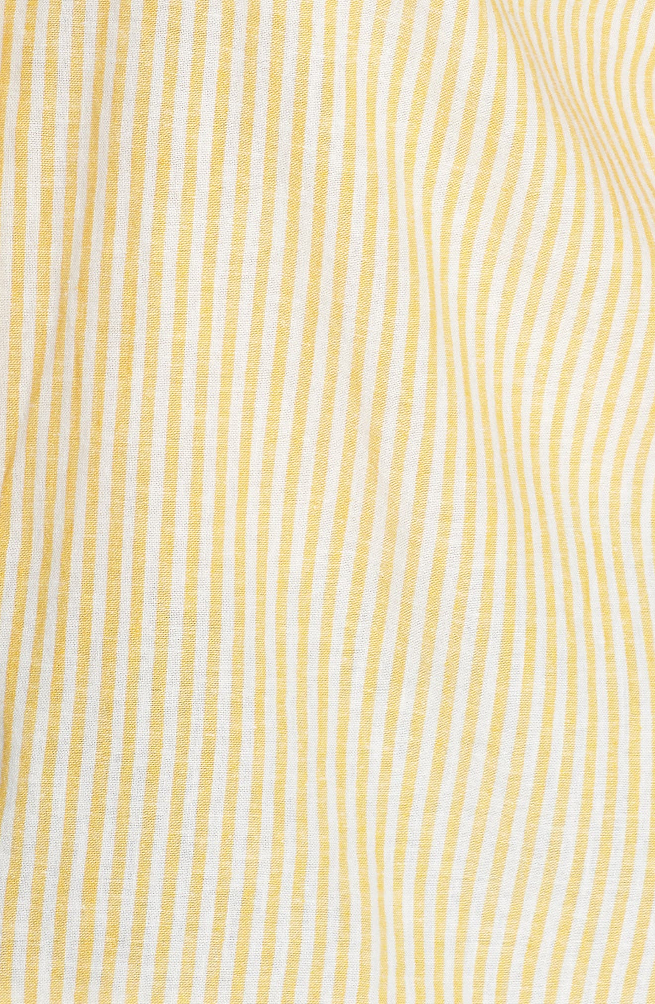 BP., Button Front Linen Blend Top, Alternate thumbnail 11, color, YELLOW WHIP MARA STRIPE