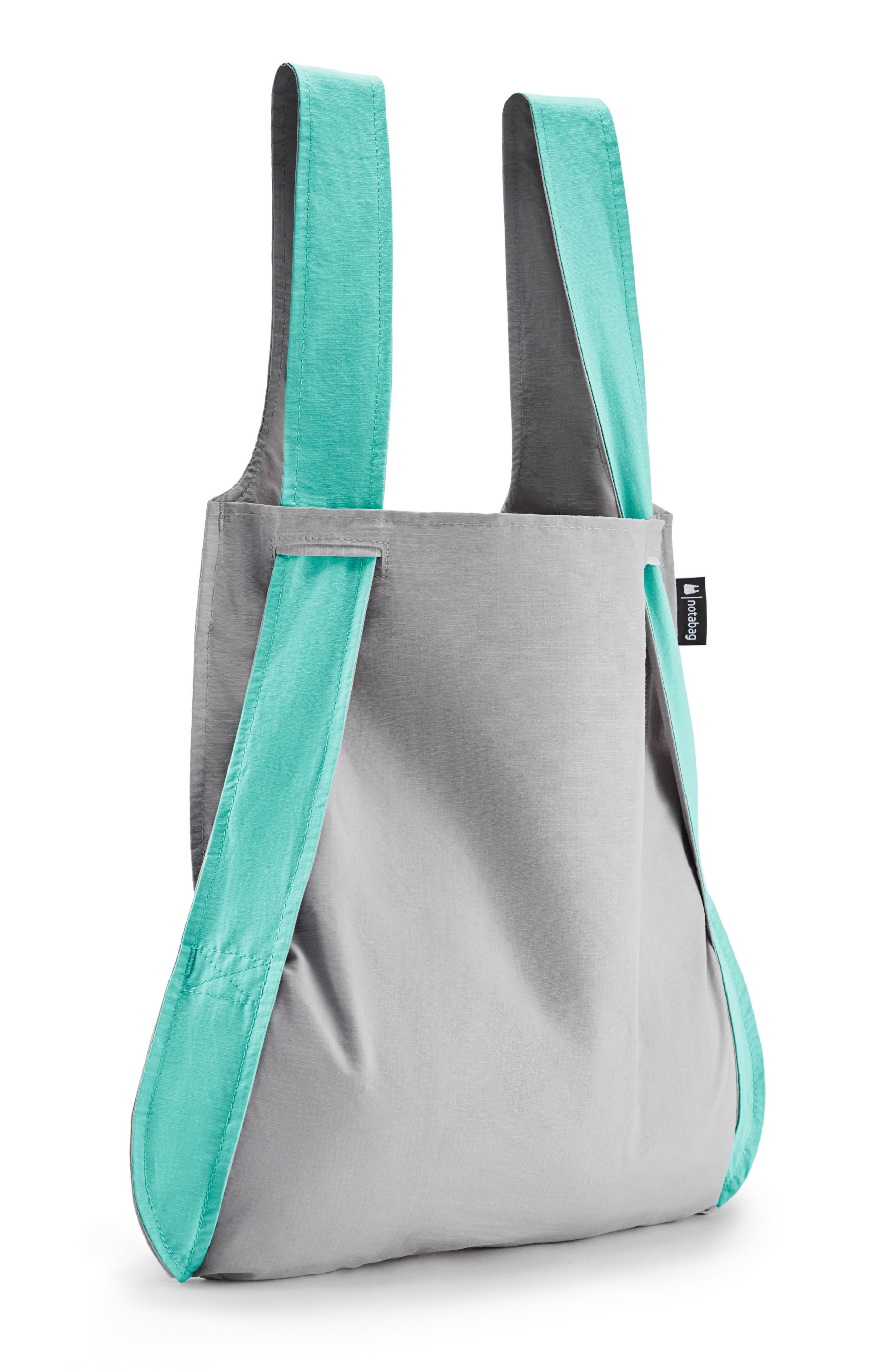 NOTABAG, Convertible Tote Backpack, Alternate thumbnail 5, color, MINT/ GREY