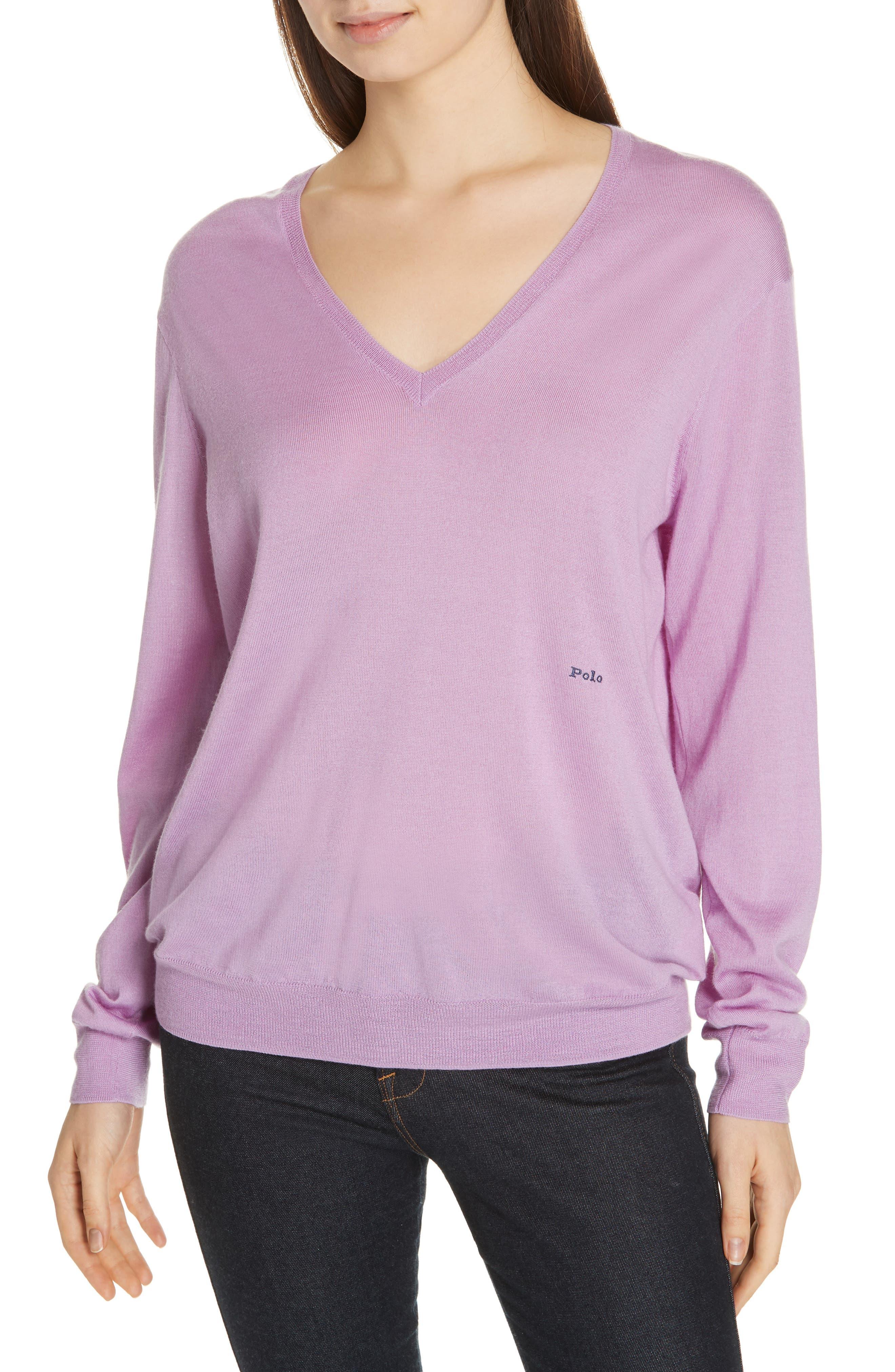 Polo Ralph Lauren V-Neck Wool, Silk & Cashmere Sweater, Purple