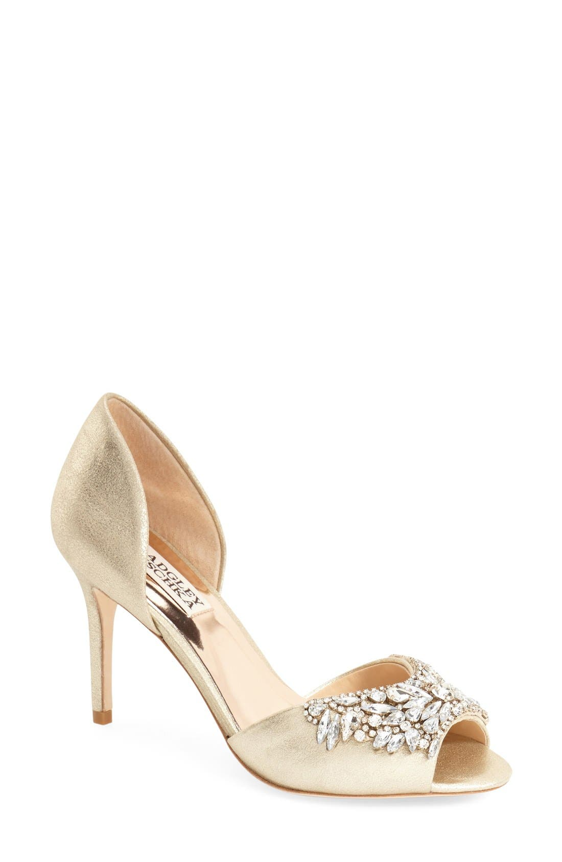 BADGLEY MISCHKA COLLECTION, Badgley Mischka 'Candance' Crystal Embellished d'Orsay Pump, Main thumbnail 1, color, 040