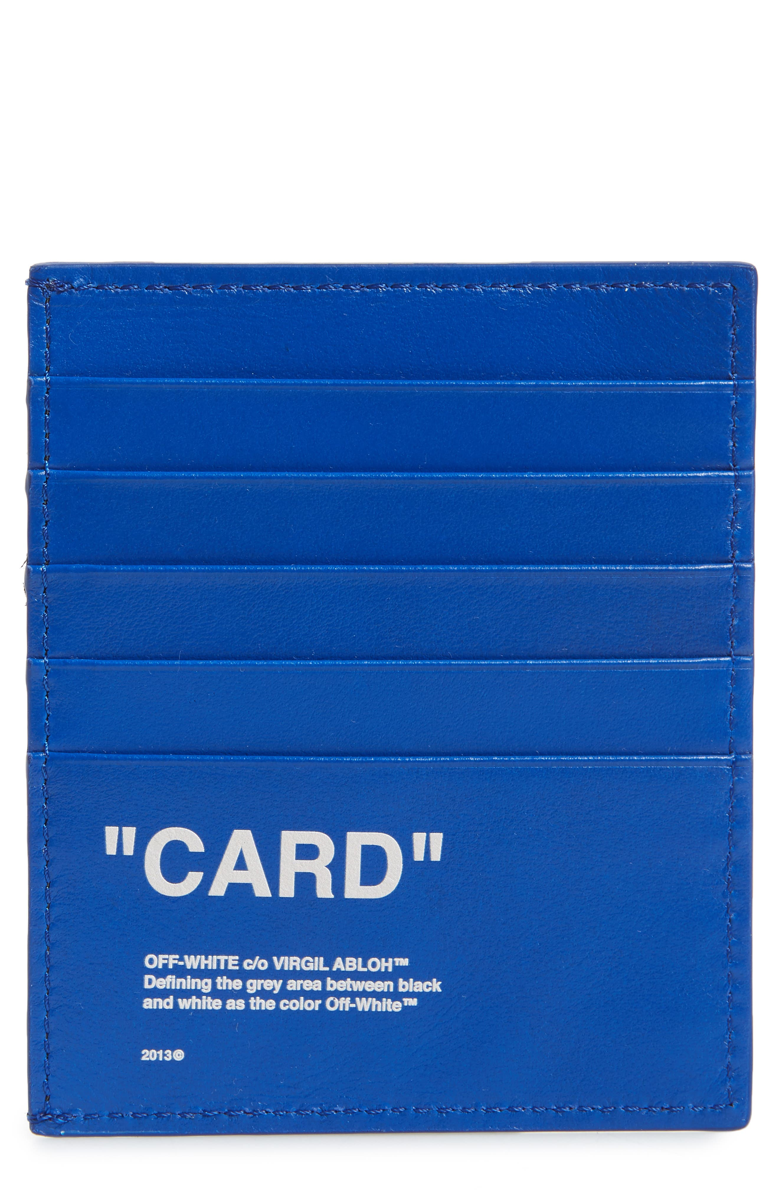 OFF-WHITE, Quote Leather Card Case, Main thumbnail 1, color, BLUE/WHITE
