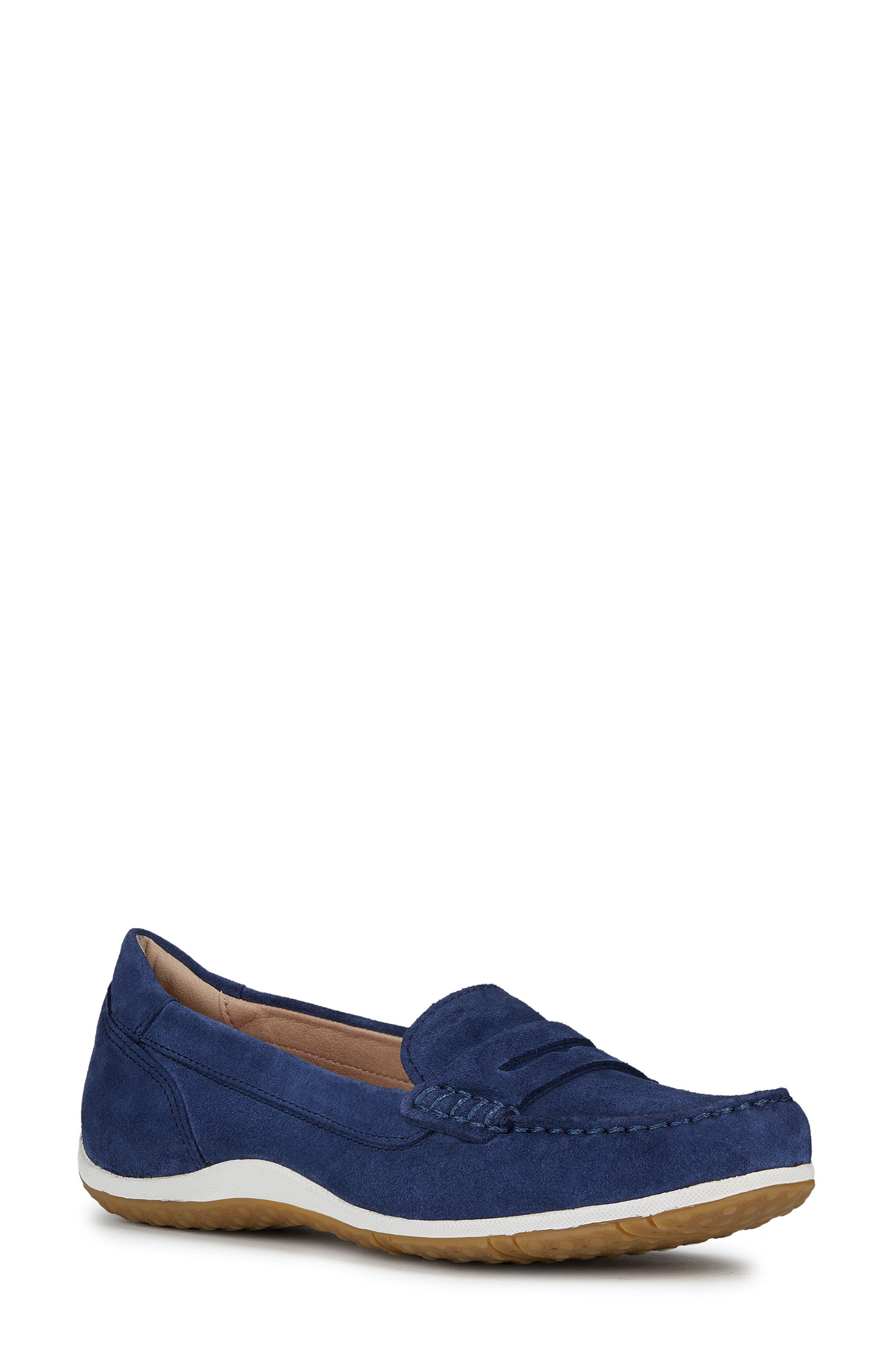 GEOX Vega Moc Loafer, Main, color, BLUE SUEDE