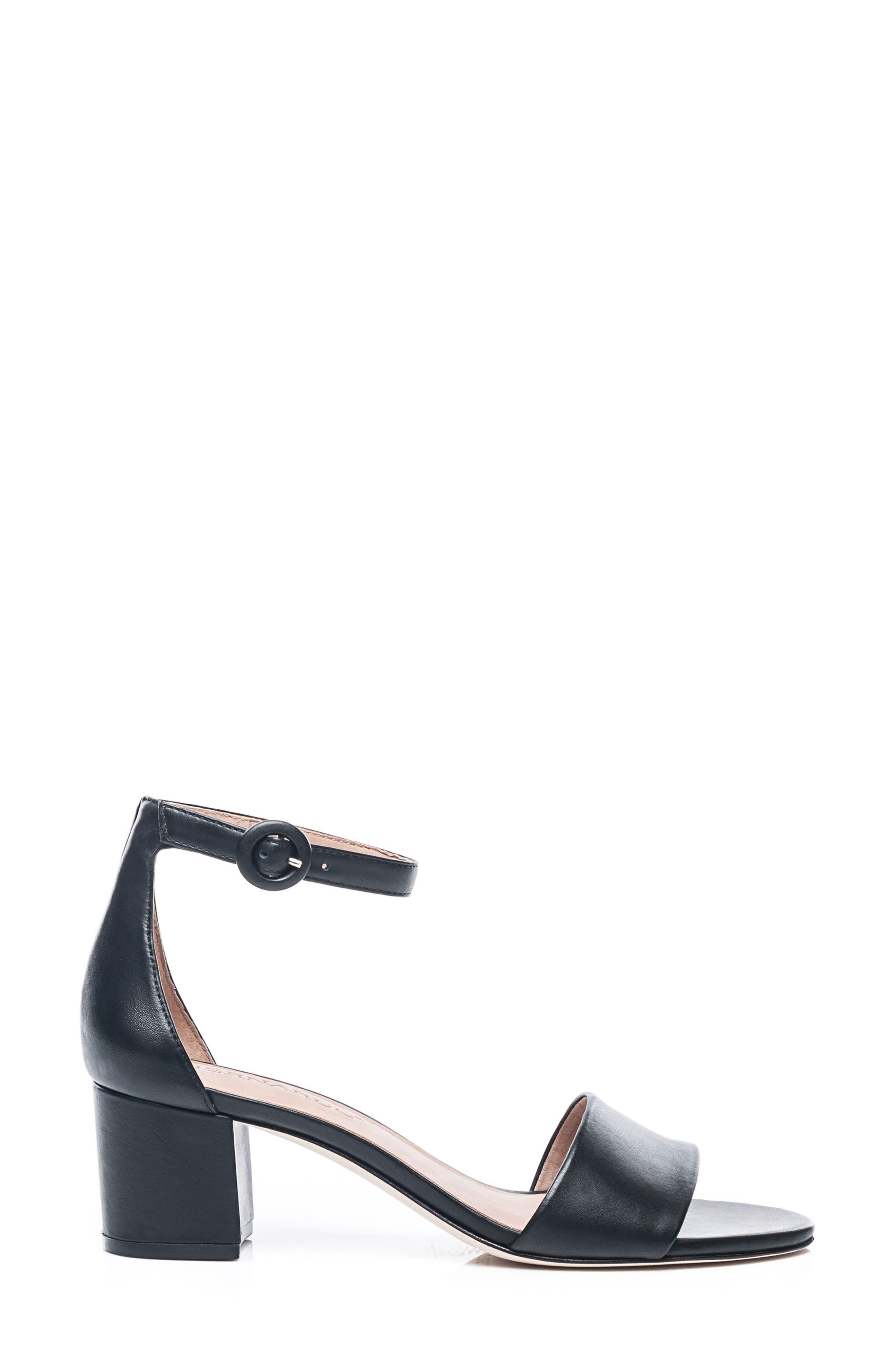 BERNARDO, Belinda Ankle Strap Sandal, Alternate thumbnail 3, color, BLACK LEATHER