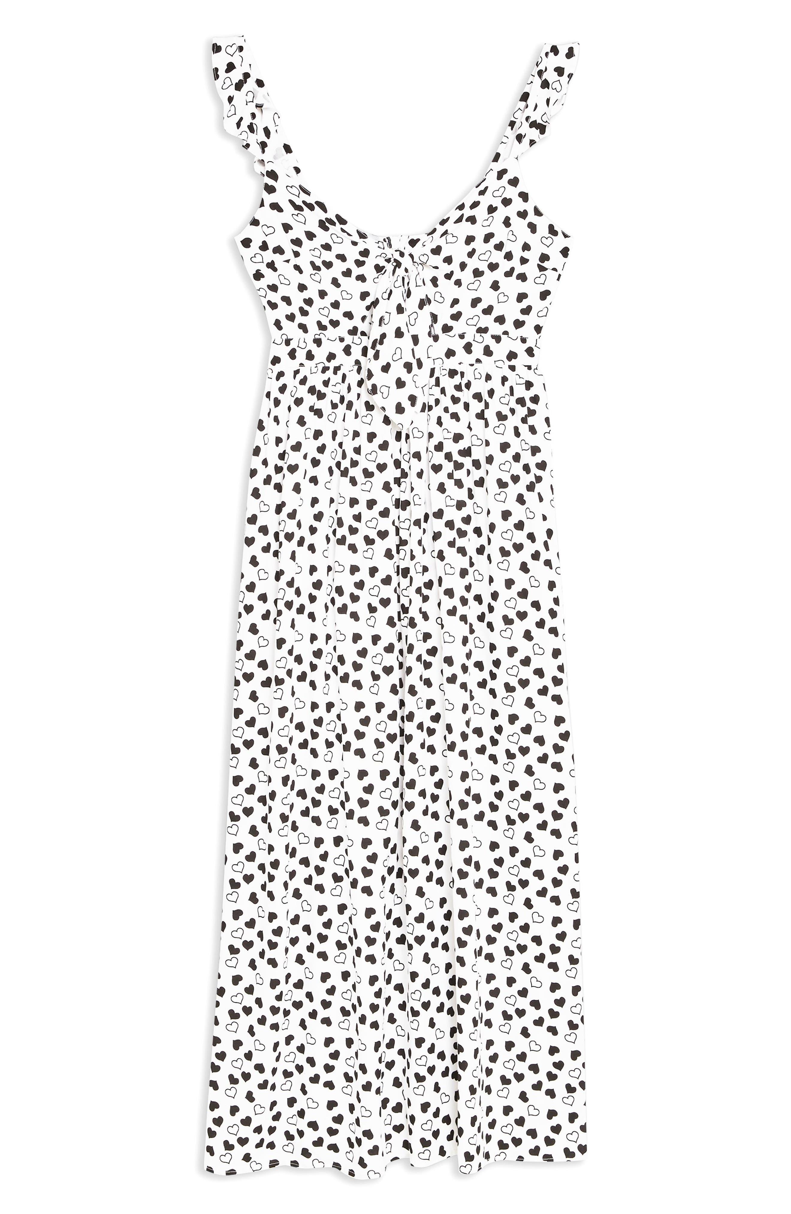TOPSHOP, Heart Knot Maxi Dress, Alternate thumbnail 3, color, IVORY MULTI
