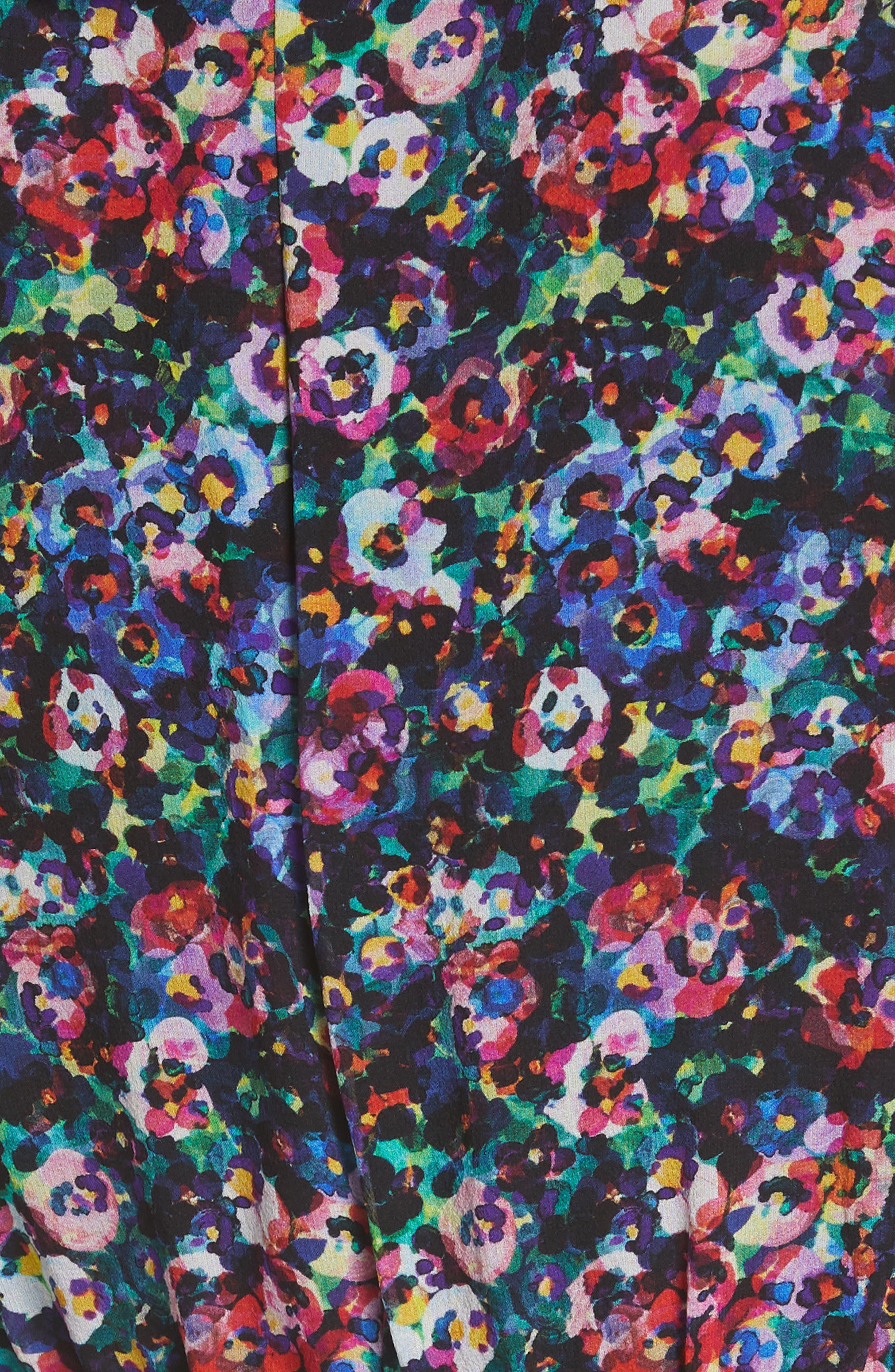 SALONI, Jodie Floral Print Silk Minidress, Alternate thumbnail 6, color, JEWEL ROSETTE