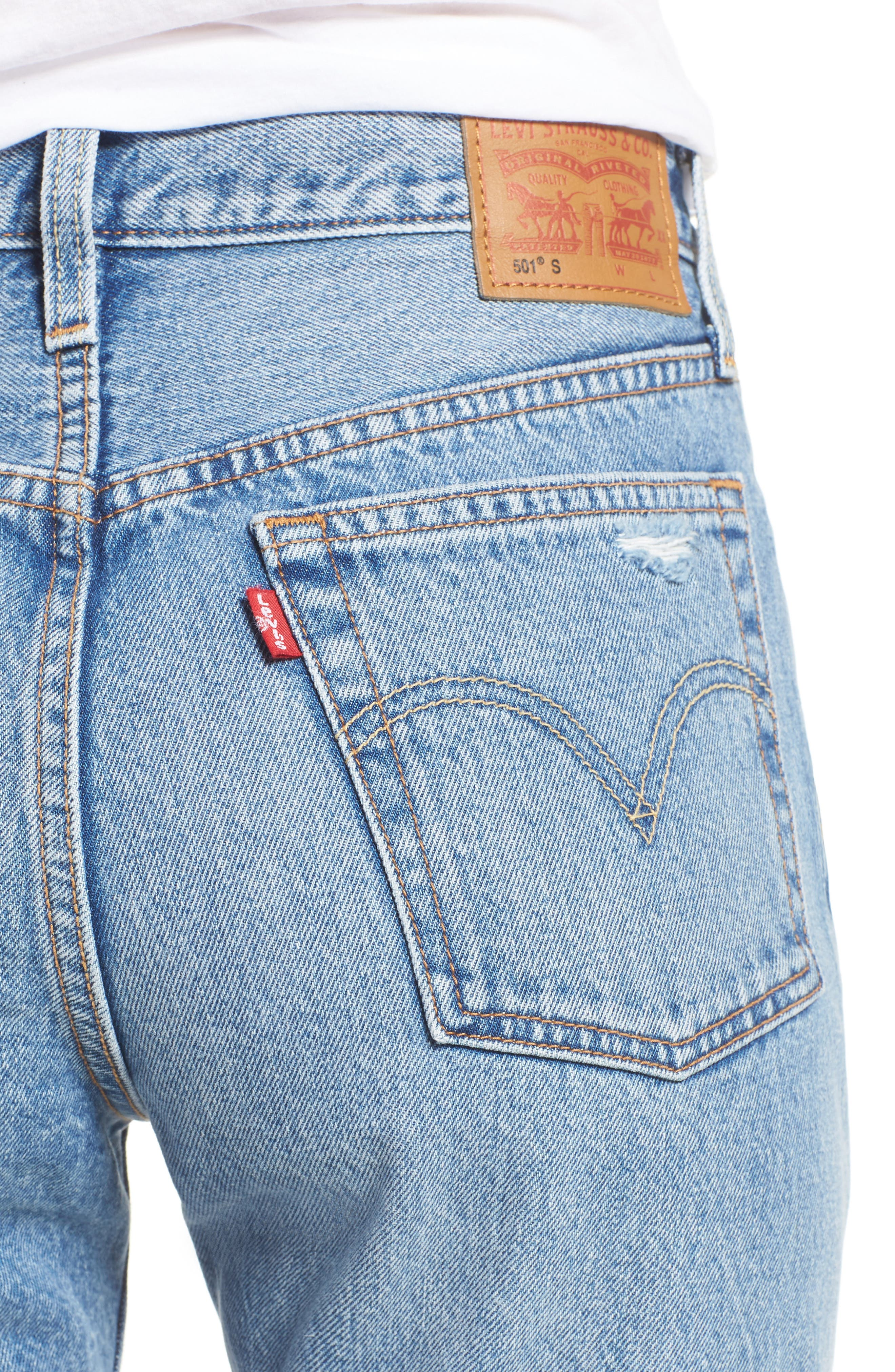 LEVI'S<SUP>®</SUP>, Levis<sup>®</sup> 501 Ripped Skinny Jeans, Alternate thumbnail 4, color, 400