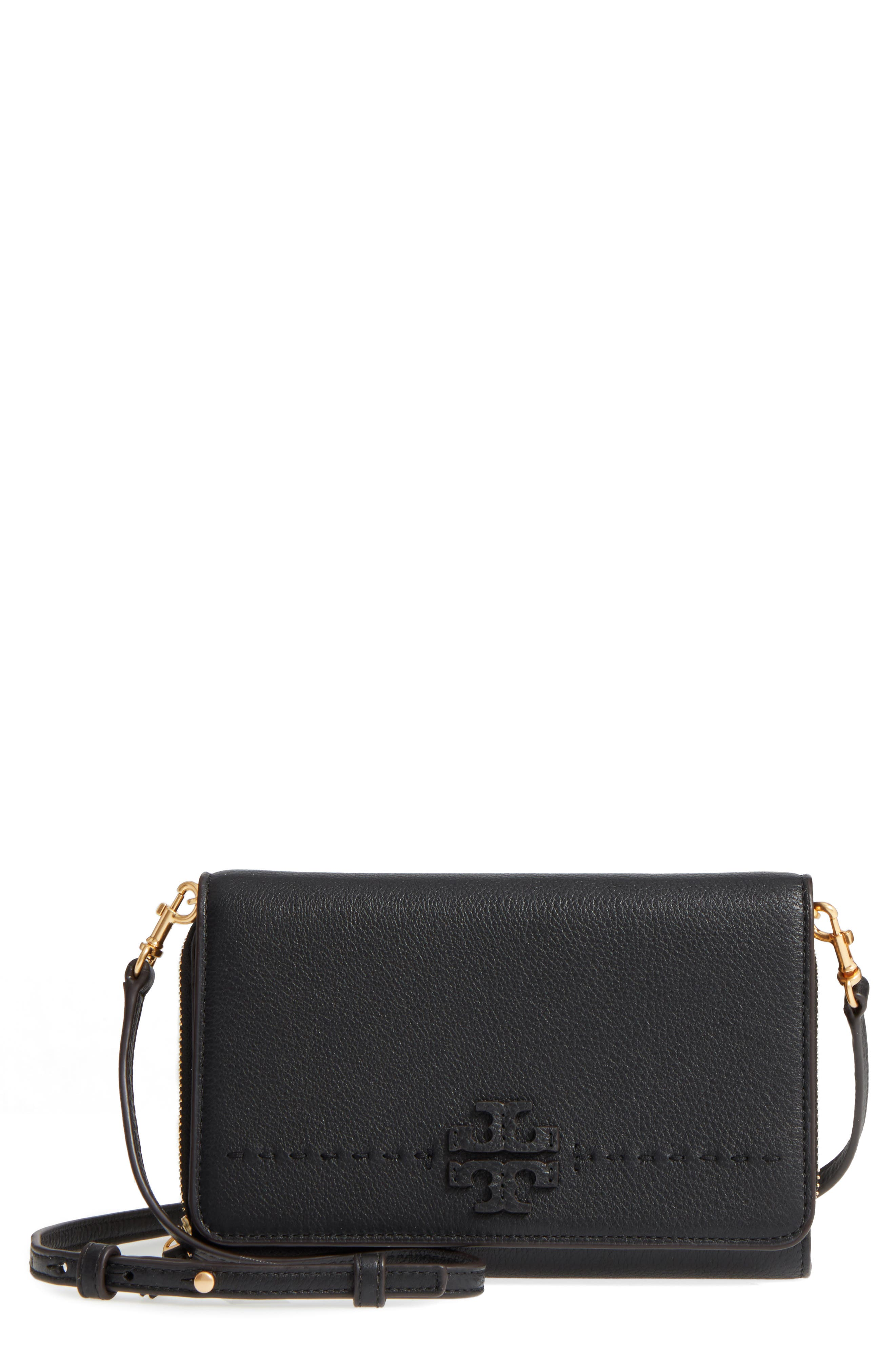 TORY BURCH, McGraw Leather Crossbody Wallet, Main thumbnail 1, color, 001