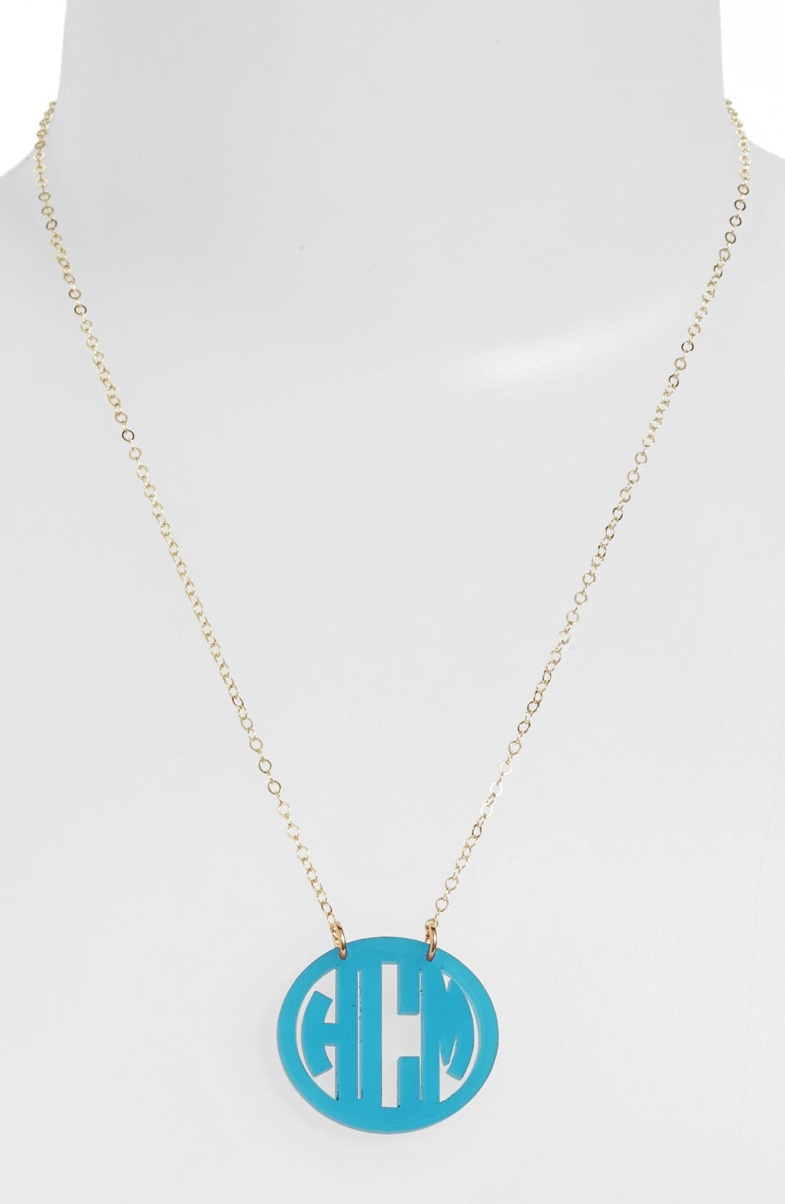 MOON AND LOLA, Small Personalized Monogram Pendant Necklace, Main thumbnail 1, color, TURQUOISE/ GOLD