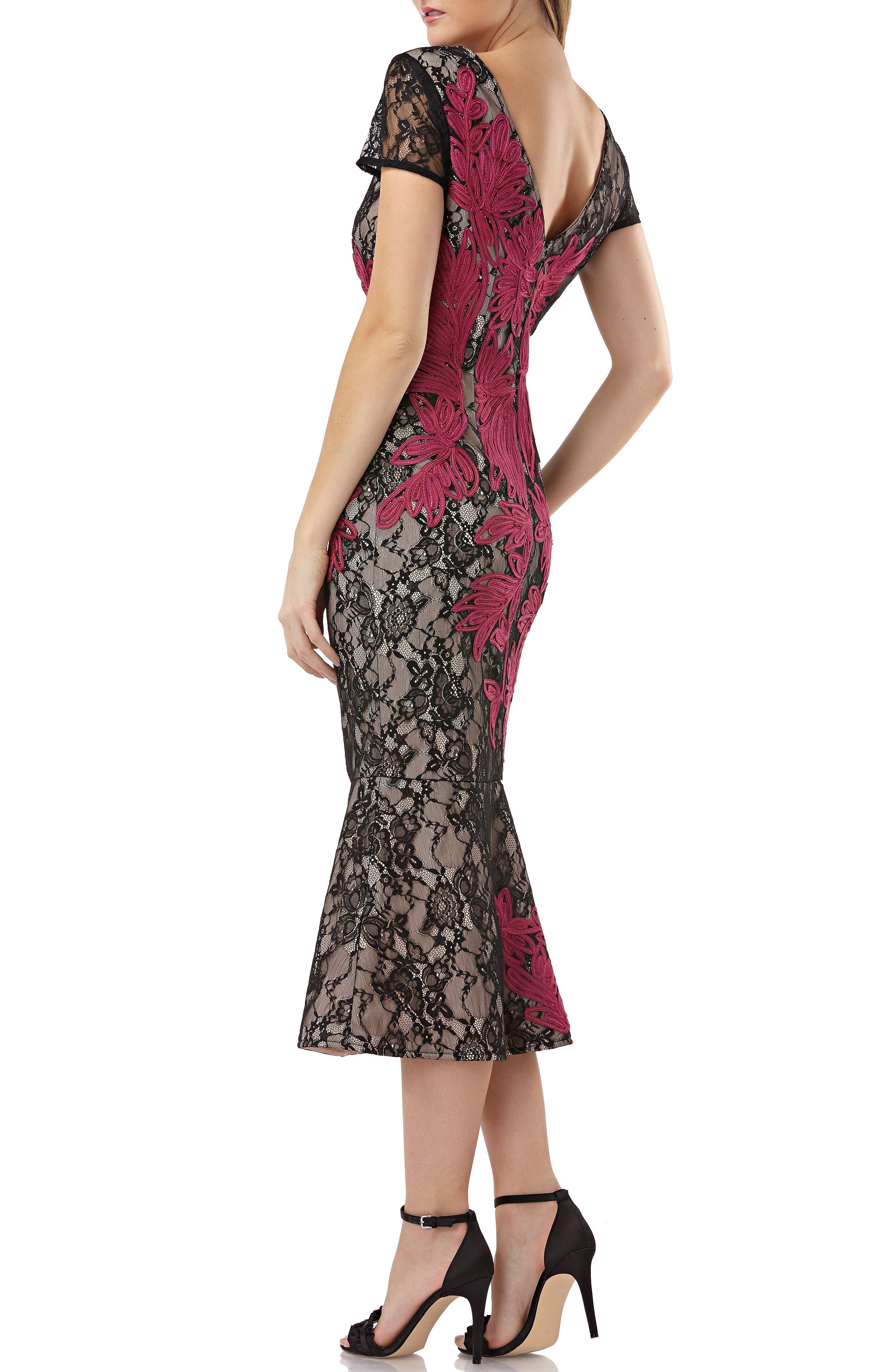 JS COLLECTIONS, Soutache Embroidered Lace Dress, Alternate thumbnail 2, color, BLACK/ MAGENTA