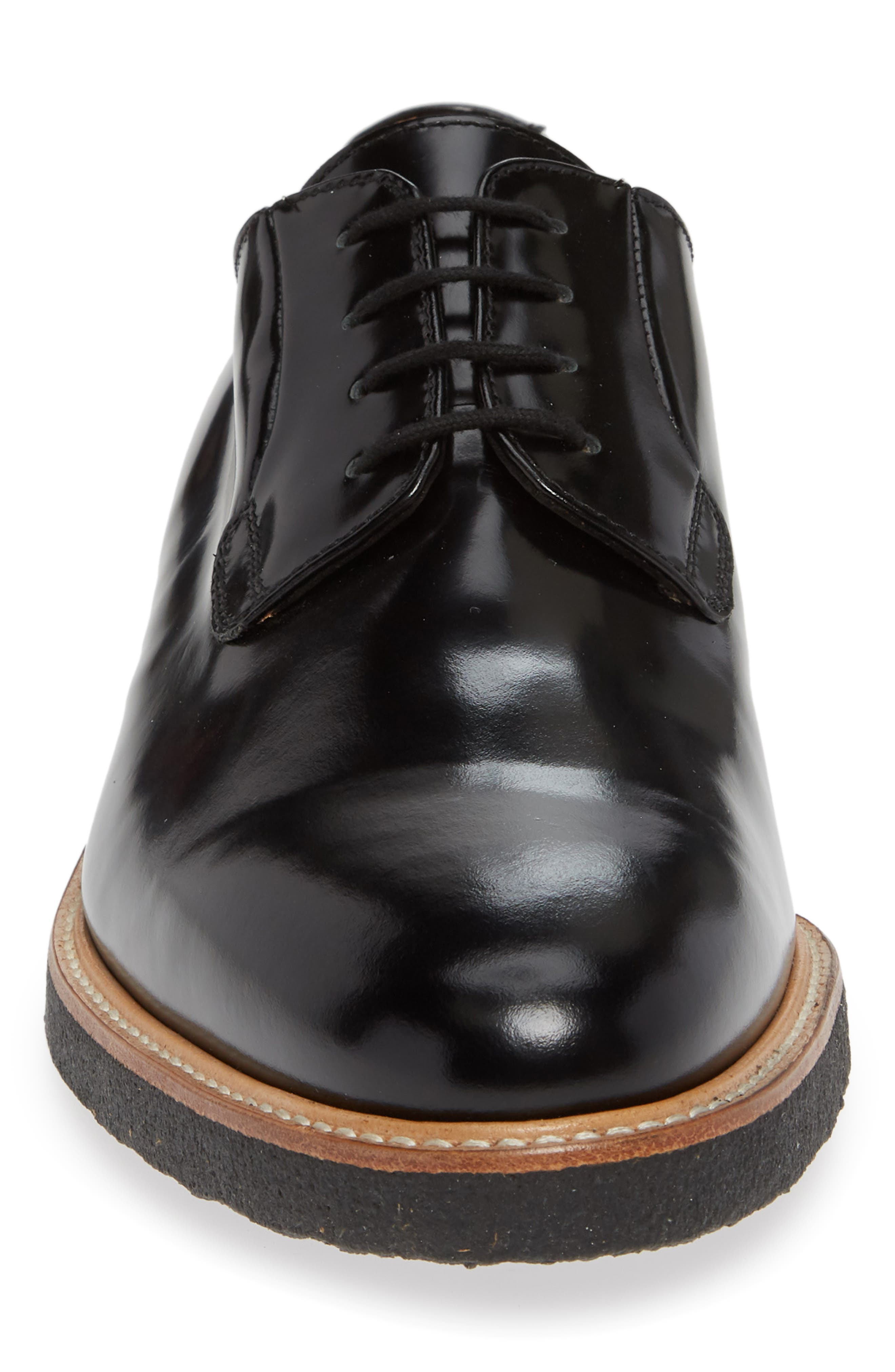 COMMON PROJECTS, Plain Toe Derby, Alternate thumbnail 4, color, BLACK SHINE