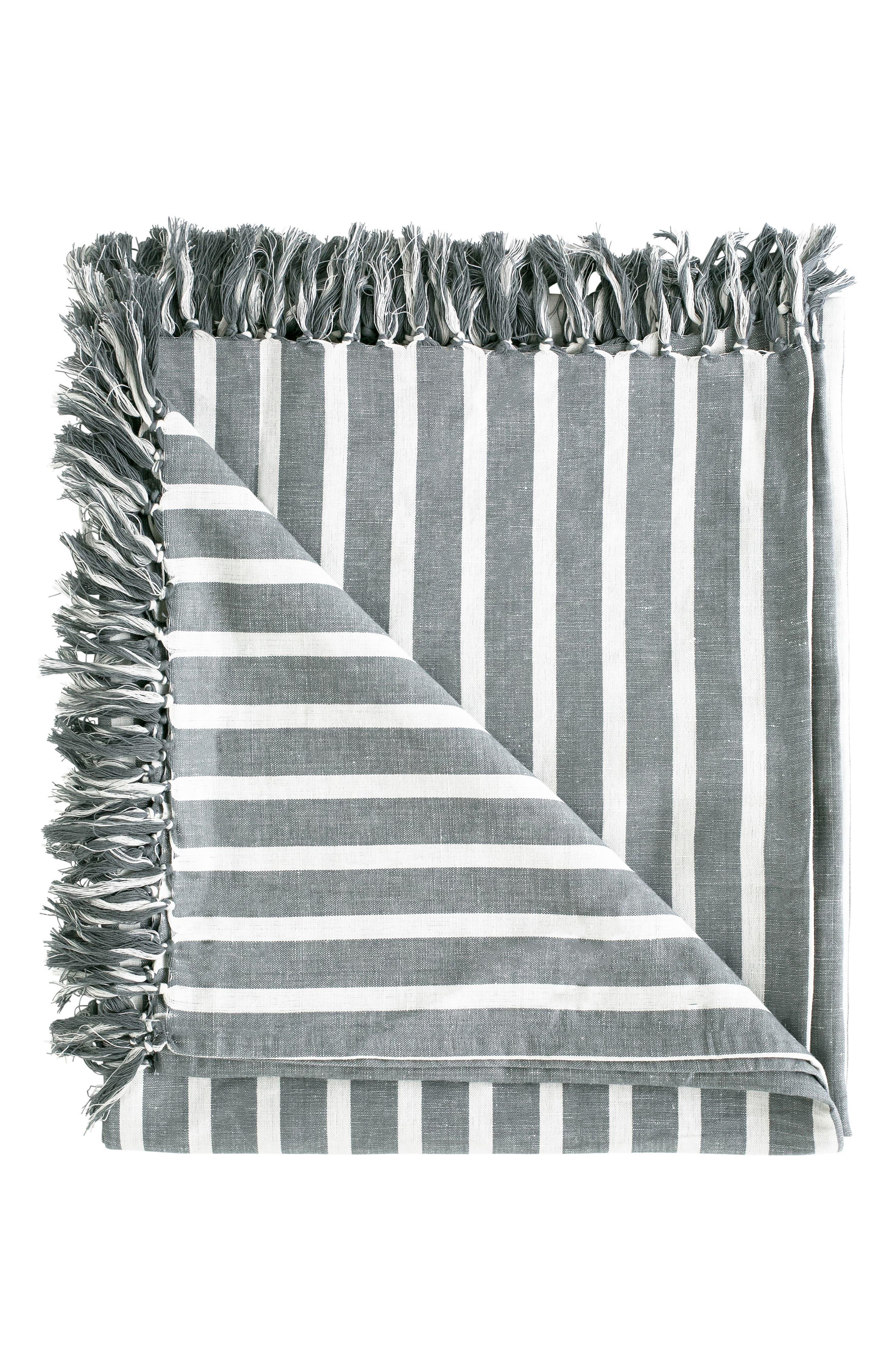 EADIE LIFESTYLE Coitier Linen & Cotton Throw Blanket, Main, color, SLATE/ WHITE