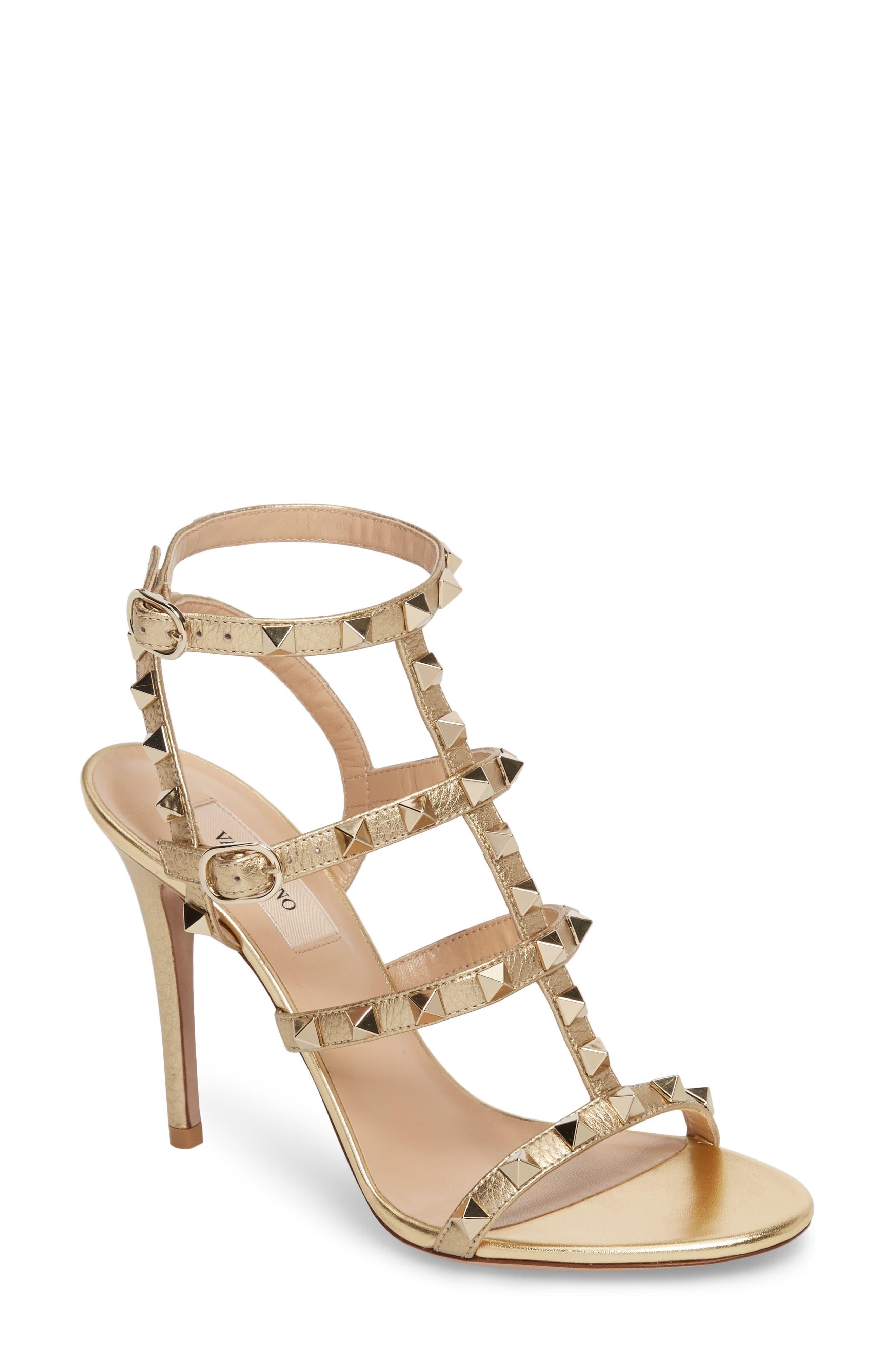 VALENTINO GARAVANI Rockstud Metallic Ankle Strap Sandal, Main, color, 710