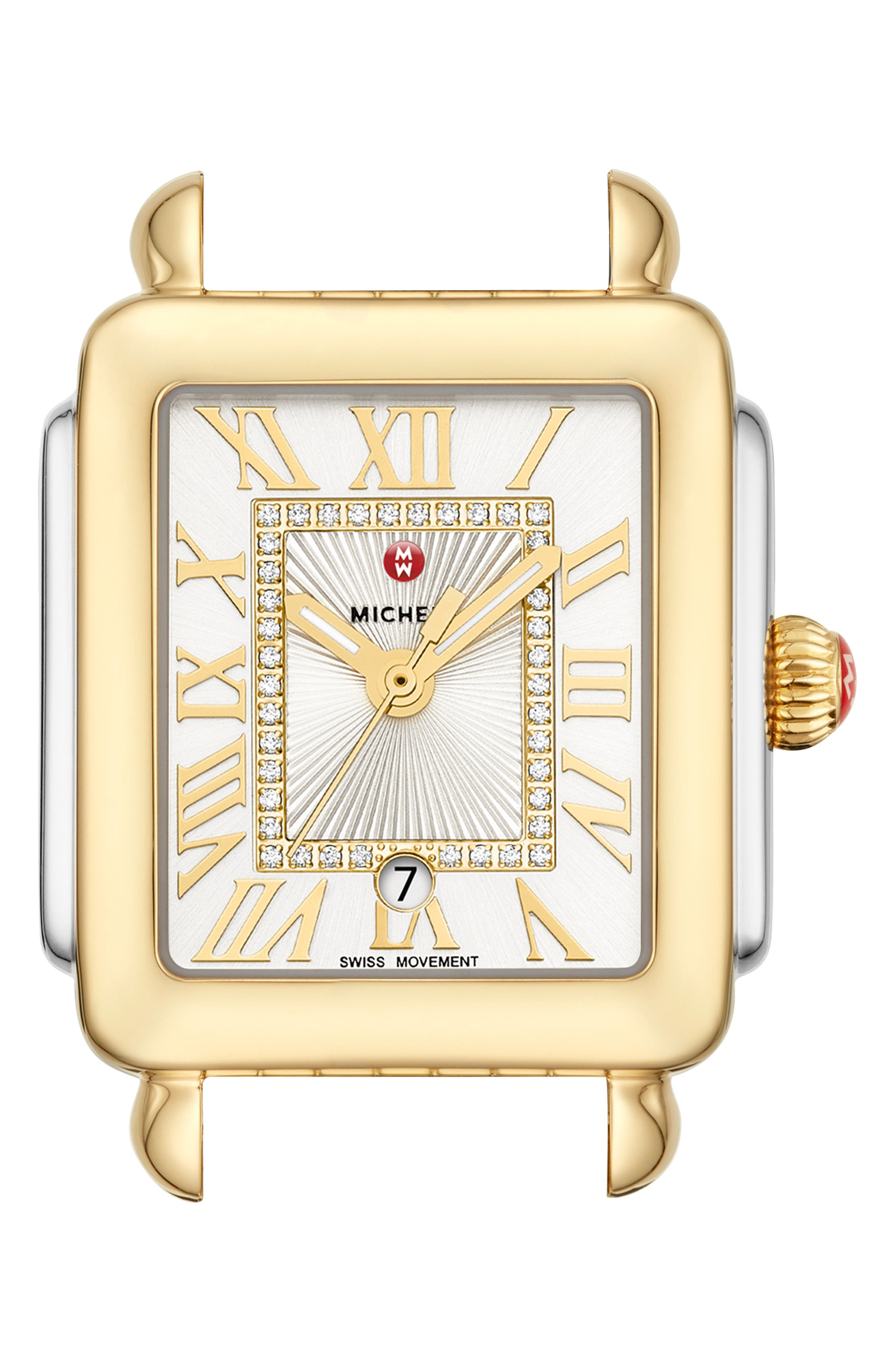 MICHELE, Deco Madison Mid Diamond Dial Watch Head, 29mm x 31mm, Main thumbnail 1, color, GOLD/ SILVER/ WHITE SUNRAY