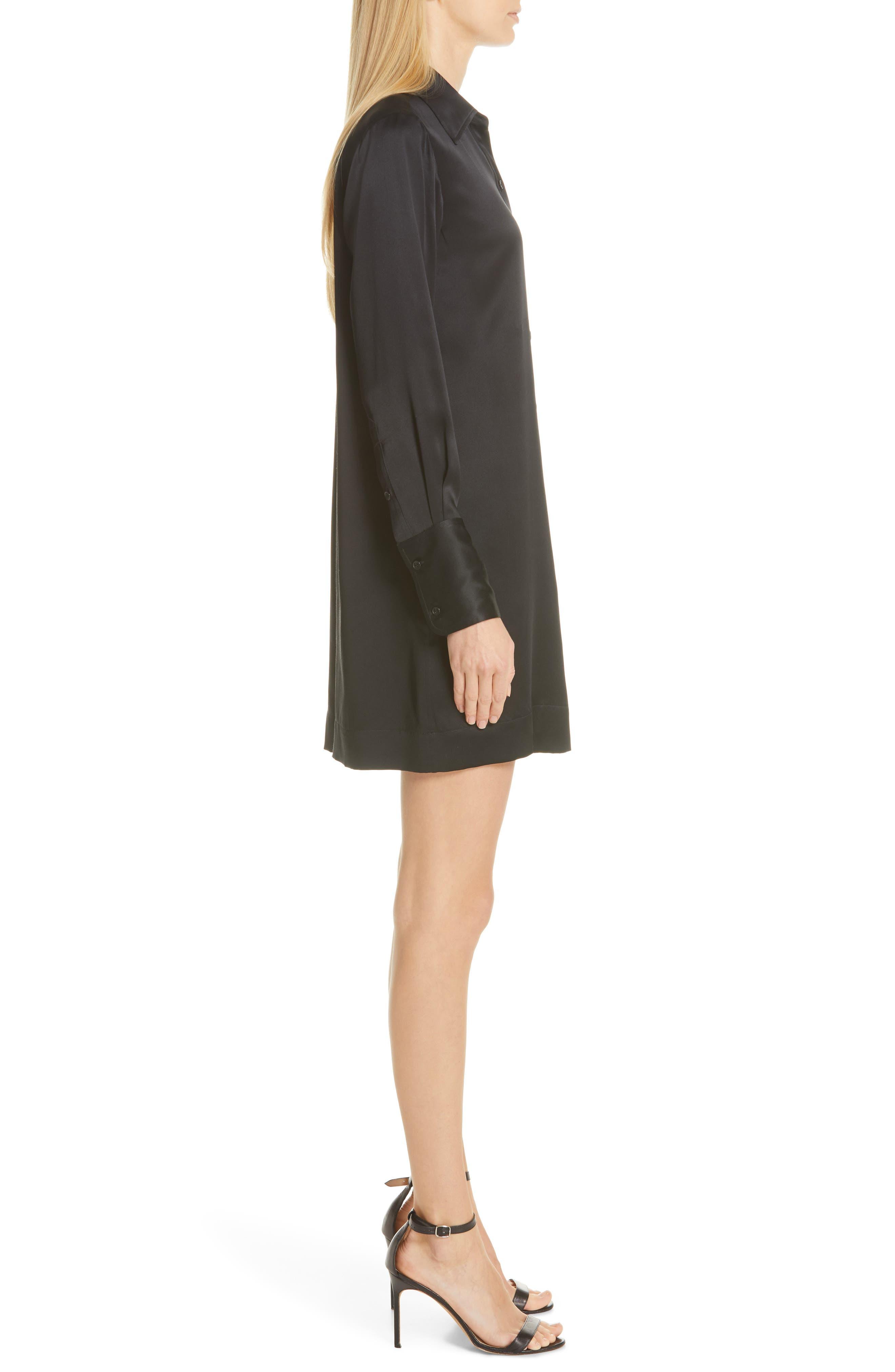 NILI LOTAN, Cassidy Silk Shirtdress, Alternate thumbnail 4, color, BLACK