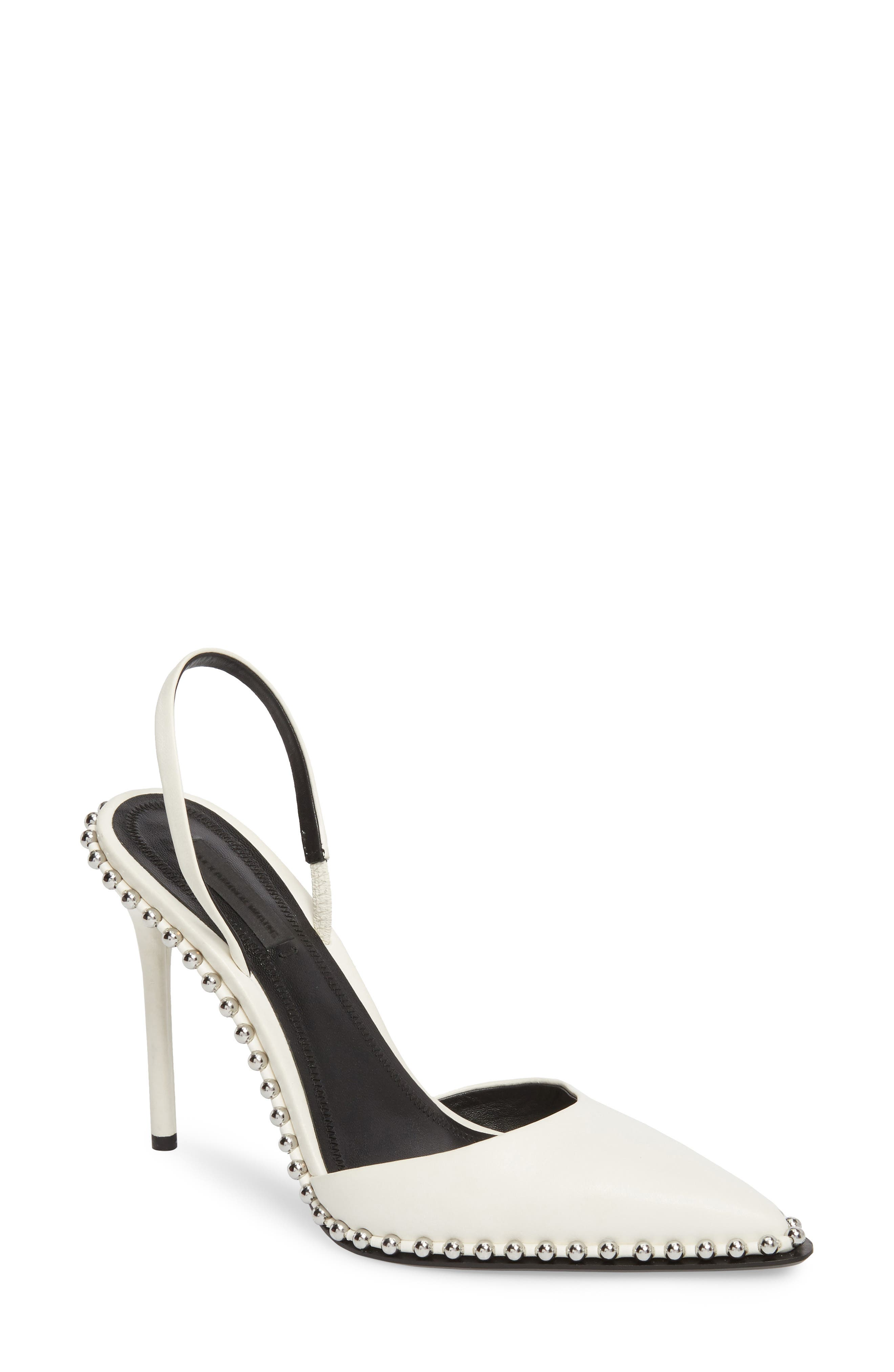 ALEXANDER WANG Rina Beaded Pump, Main, color, WHITE LEATHER