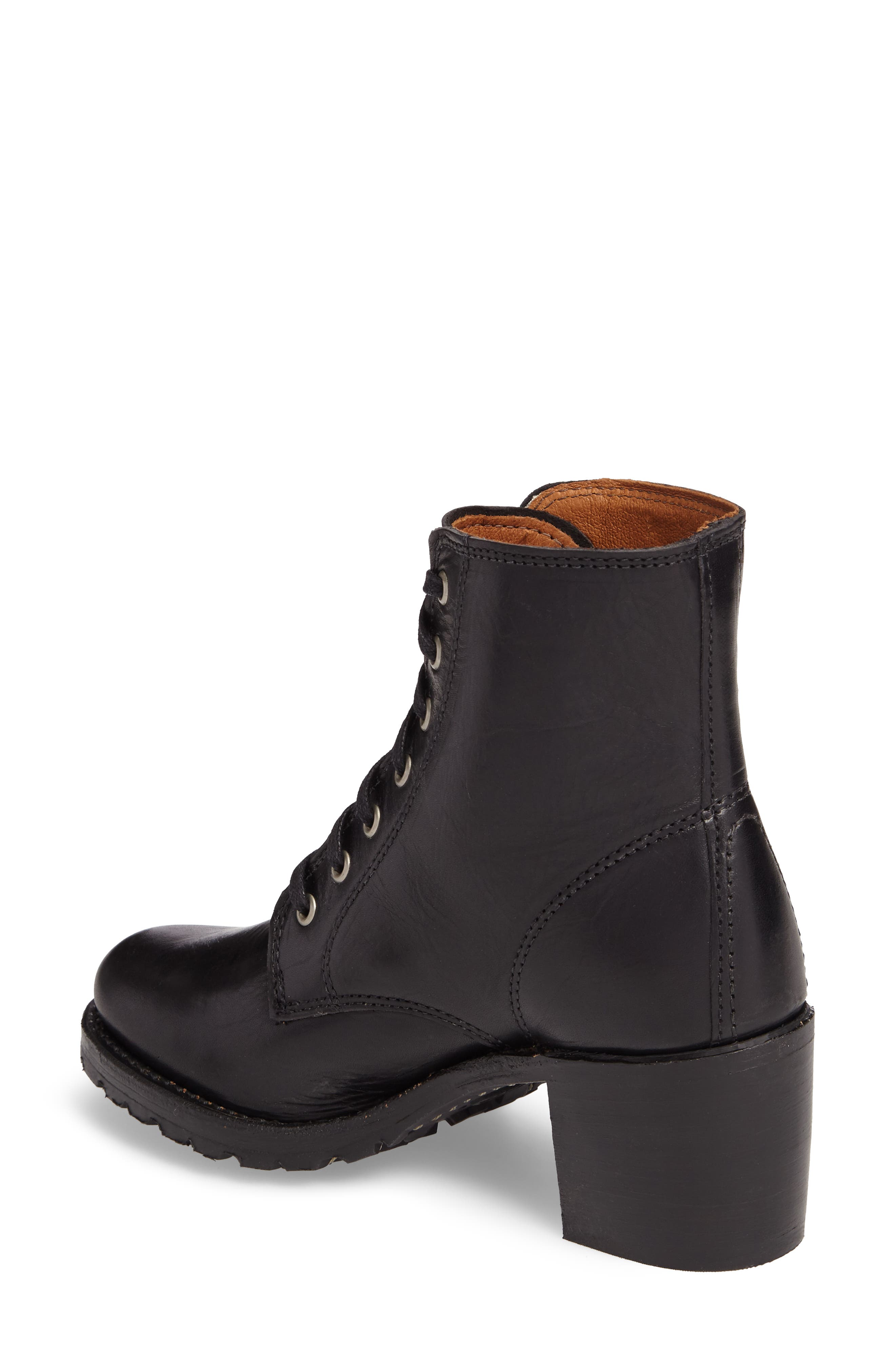 FRYE, Sabrina 6G Lace-Up Boot, Alternate thumbnail 2, color, BLACK