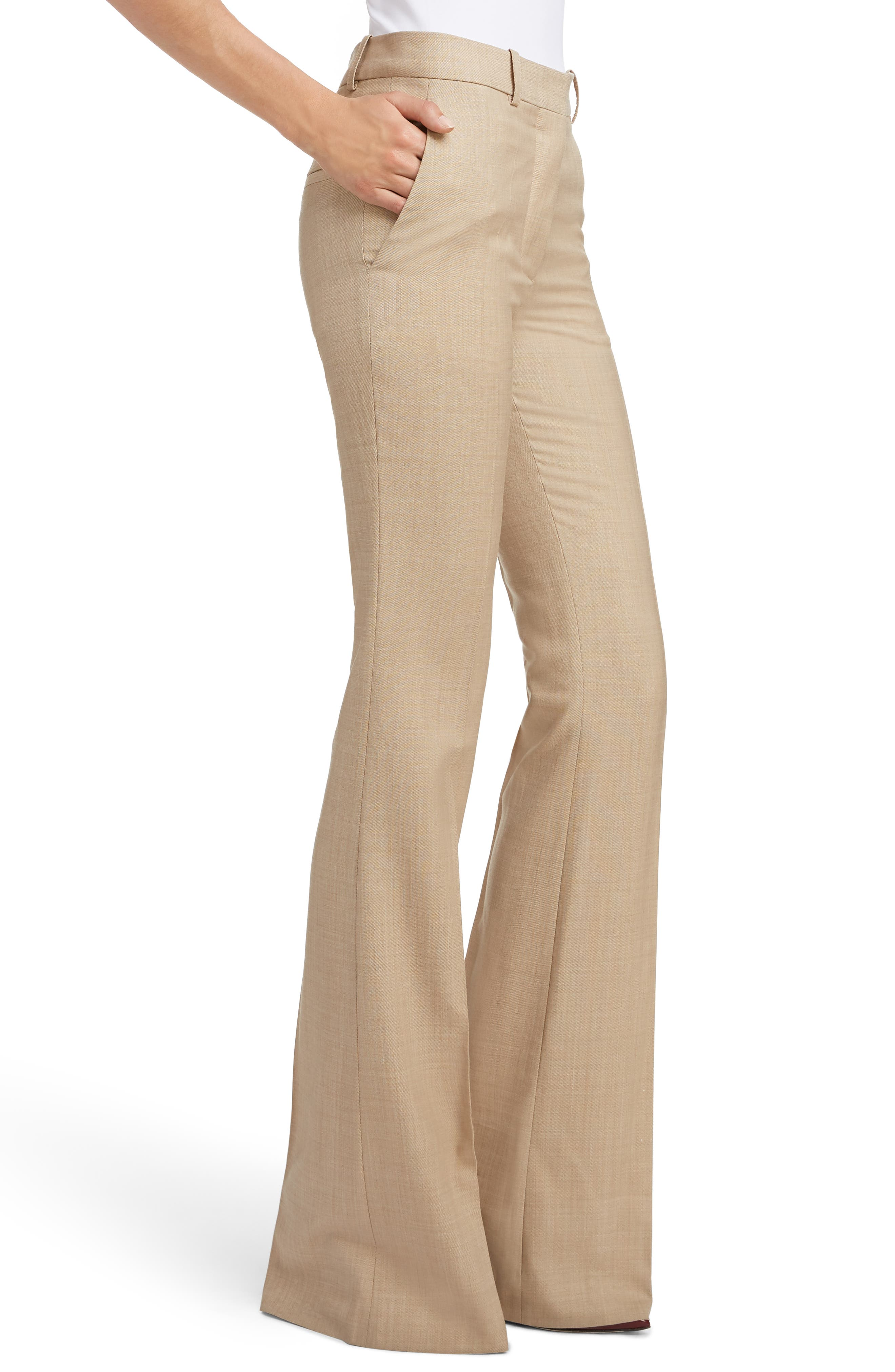 VICTORIA BECKHAM, High Waist Flare Wool Pants, Alternate thumbnail 4, color, LIGHT BEIGE-WHITE