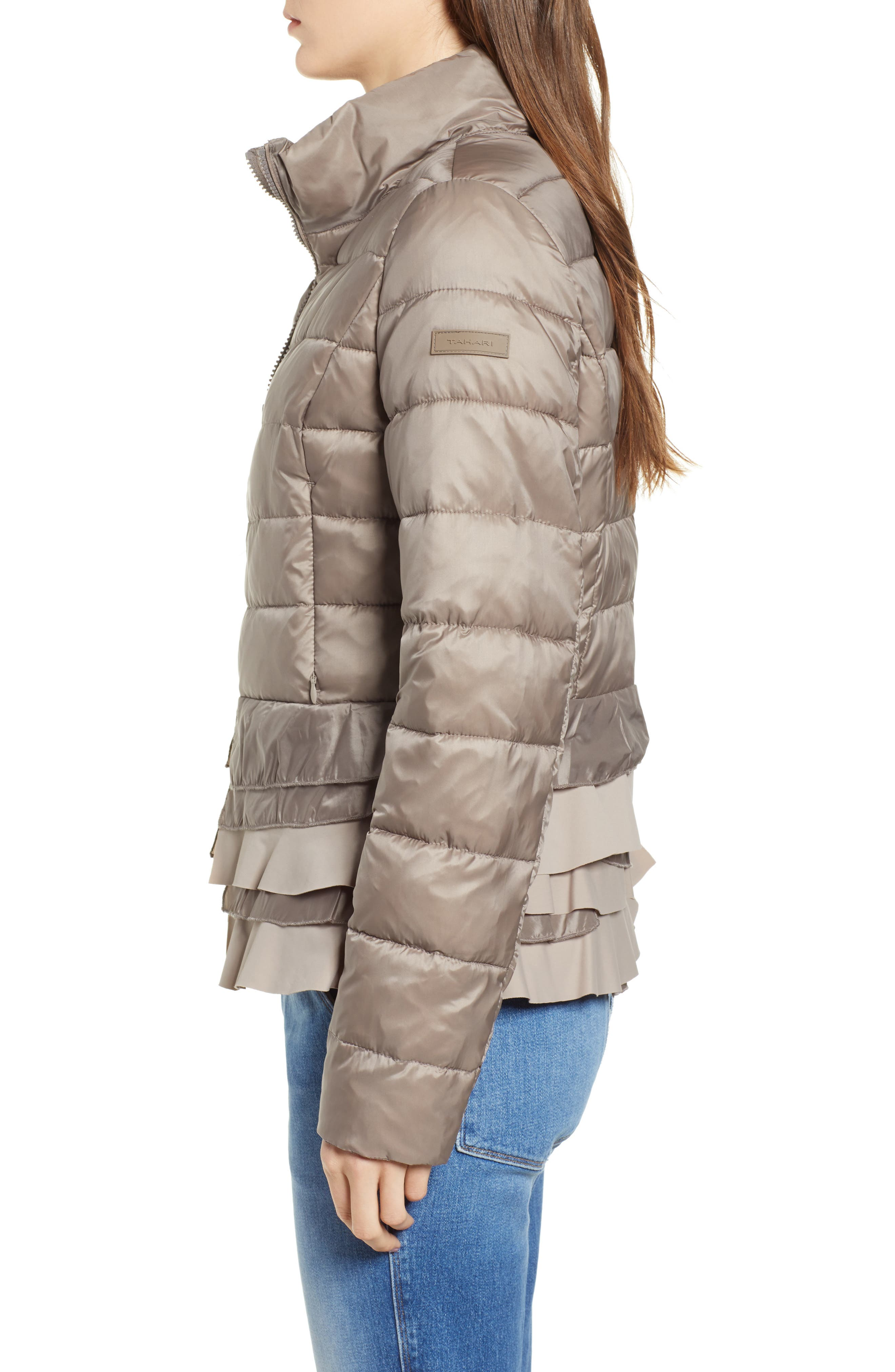TAHARI, Zoey Ruffle Hem Puffer Jacket, Alternate thumbnail 4, color, TRUFFLE