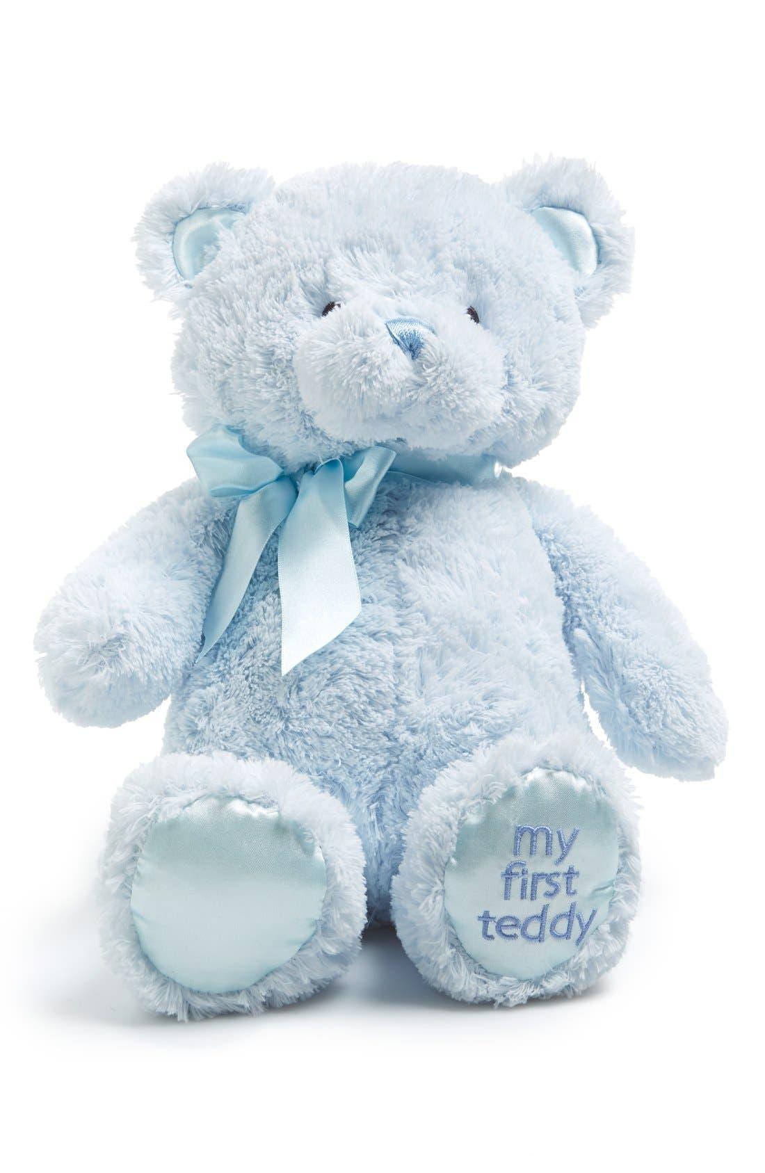 GUND, Baby Gund 'My First Teddy' Stuffed Bear, Alternate thumbnail 2, color, BLUE