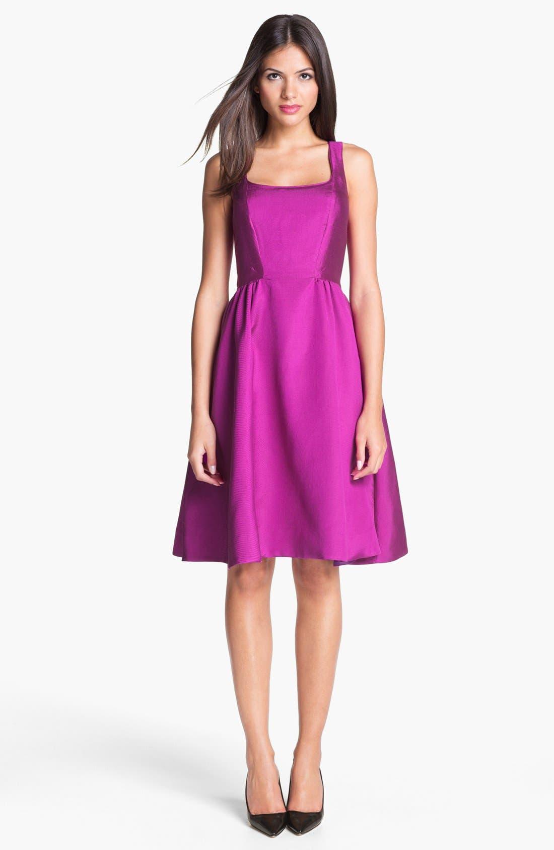 KATE SPADE NEW YORK, 'landry' silk blend fit & flare dress, Main thumbnail 1, color, 500