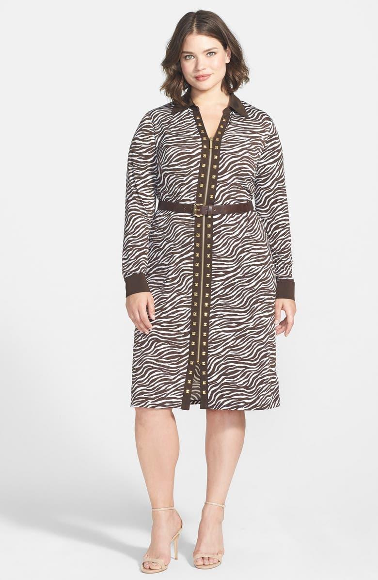 4eb489d3a4b MICHAEL MICHAEL KORS 'Savannah Zebra' Belted Studded Zip Front Shirtdress,  Main, color