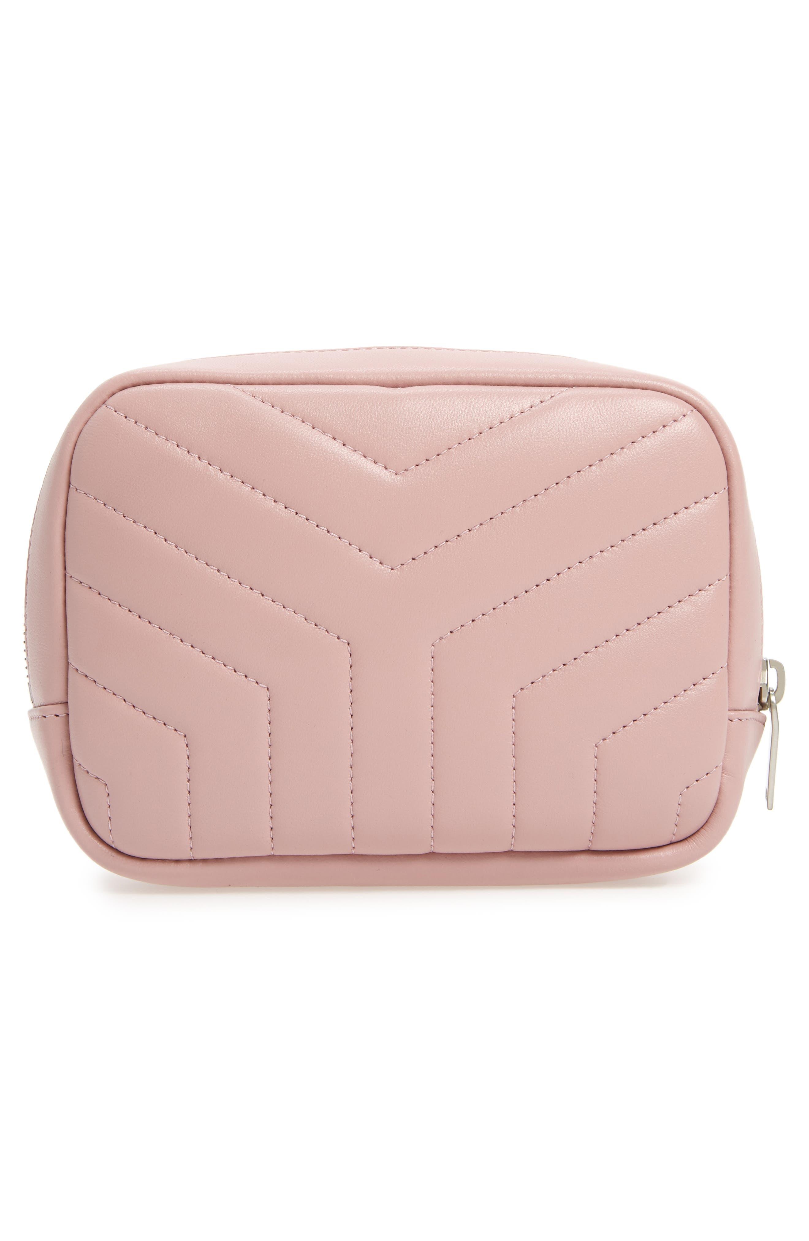 SAINT LAURENT, Loulou Matelassé Leather Cosmetics Bag, Alternate thumbnail 2, color, TENDER PINK