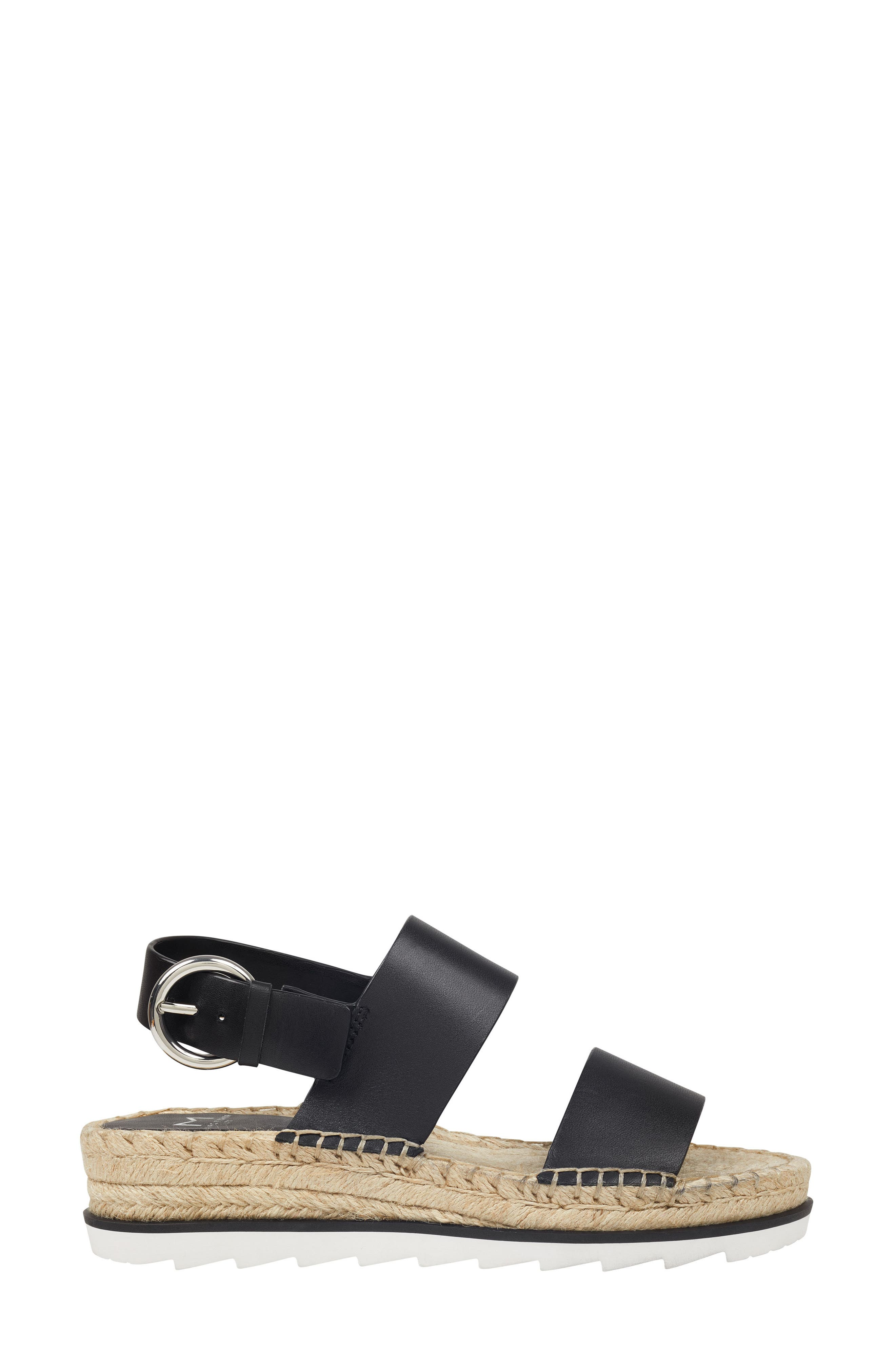 MARC FISHER LTD, Phebe 2 Espadrille Sandal, Alternate thumbnail 3, color, BLACK LEATHER