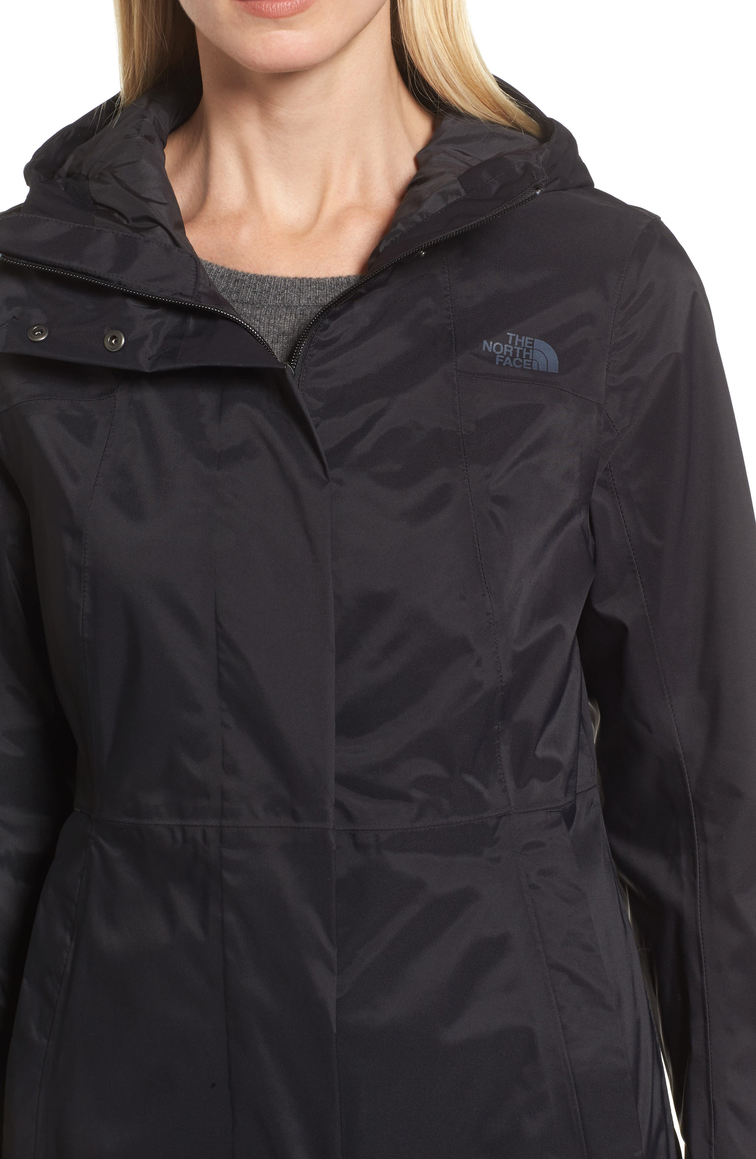 THE NORTH FACE, City Midi Trench Coat, Alternate thumbnail 5, color, 001