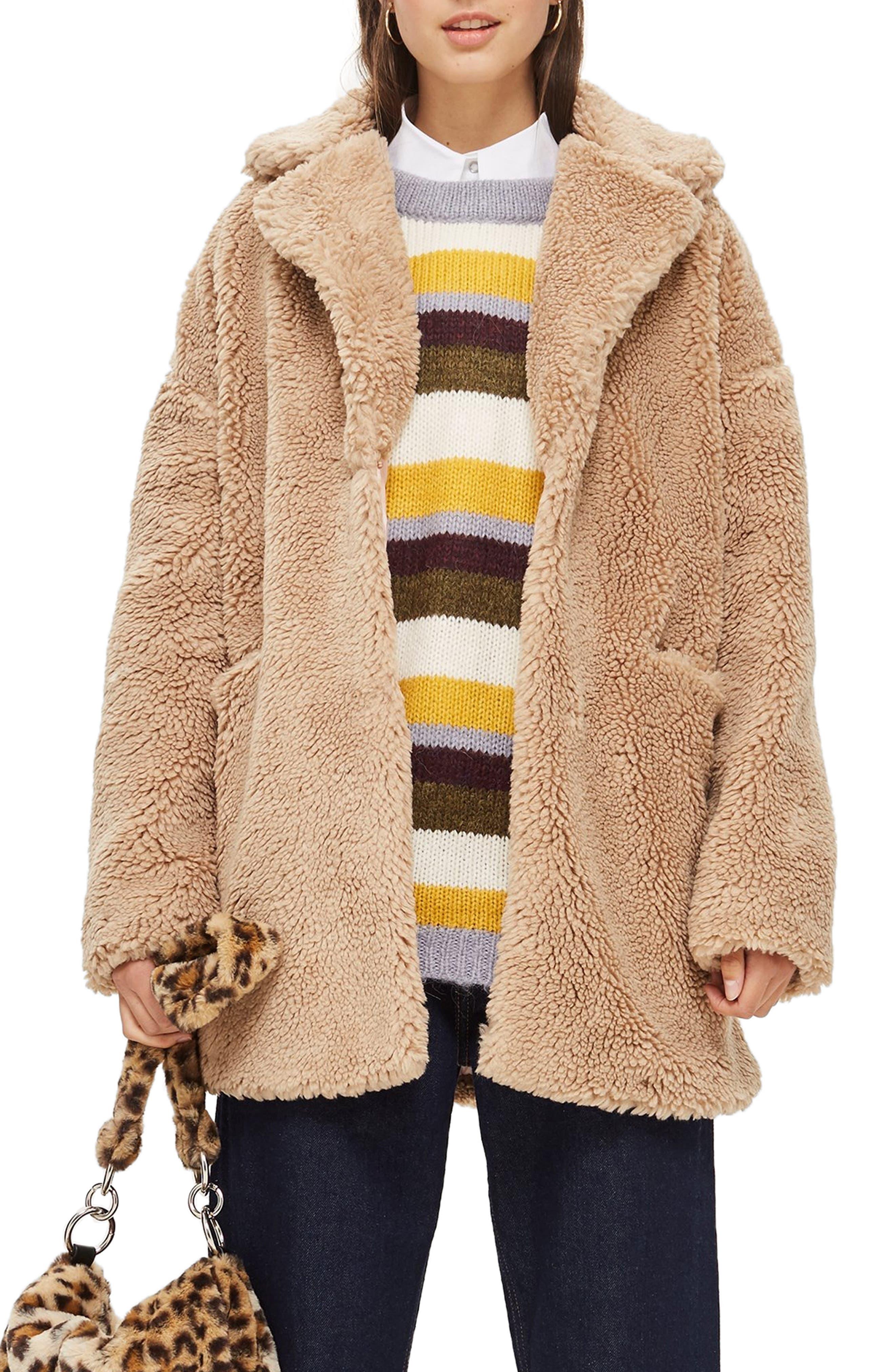 TOPSHOP Bobby Borg Coat, Main, color, CAMEL