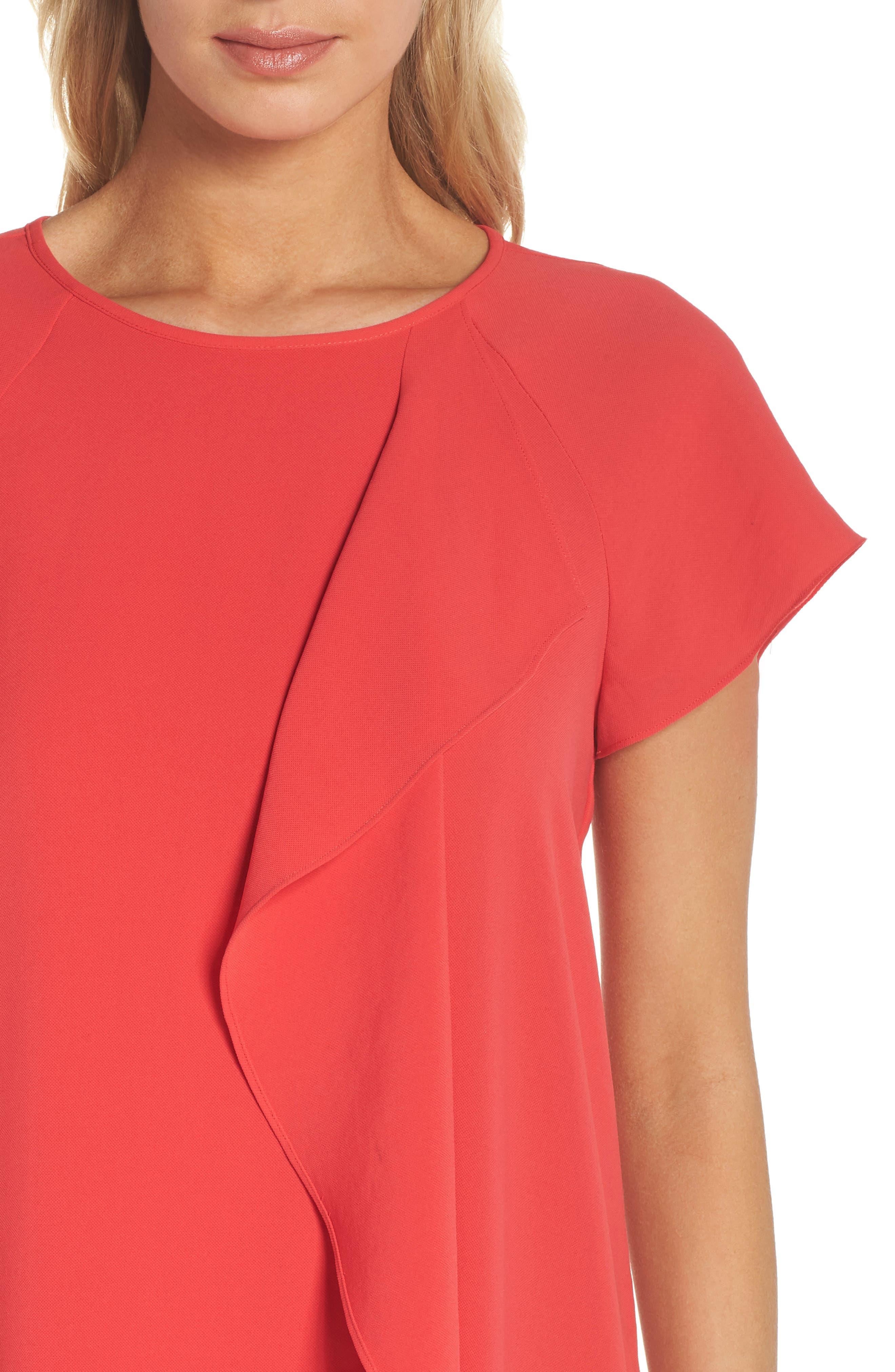ADRIANNA PAPELL, Crepe Shift Dress, Alternate thumbnail 5, color, 650