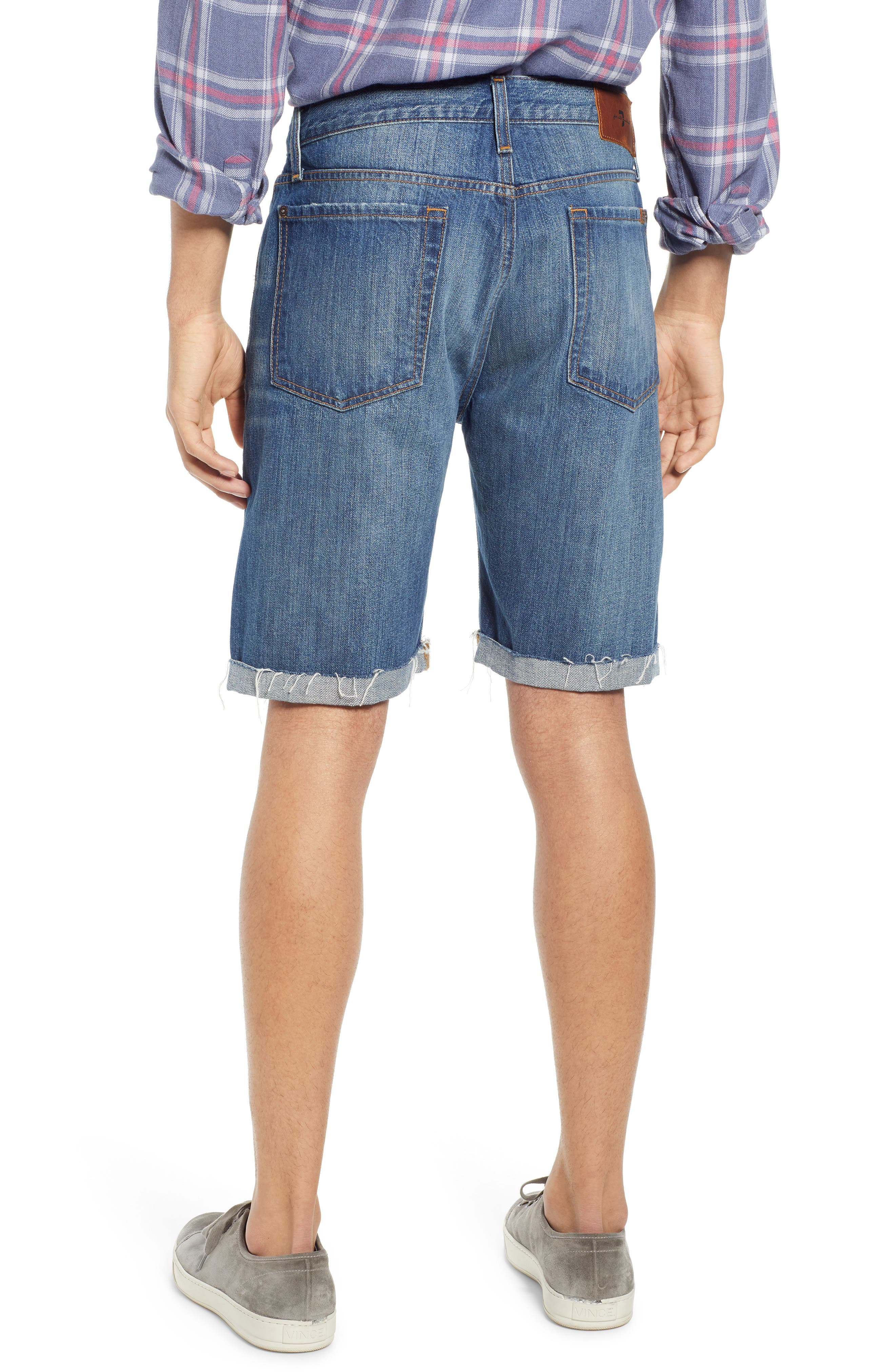 7 FOR ALL MANKIND<SUP>®</SUP>, Cutoff Denim Shorts, Alternate thumbnail 2, color, LEGEND DESTROYED