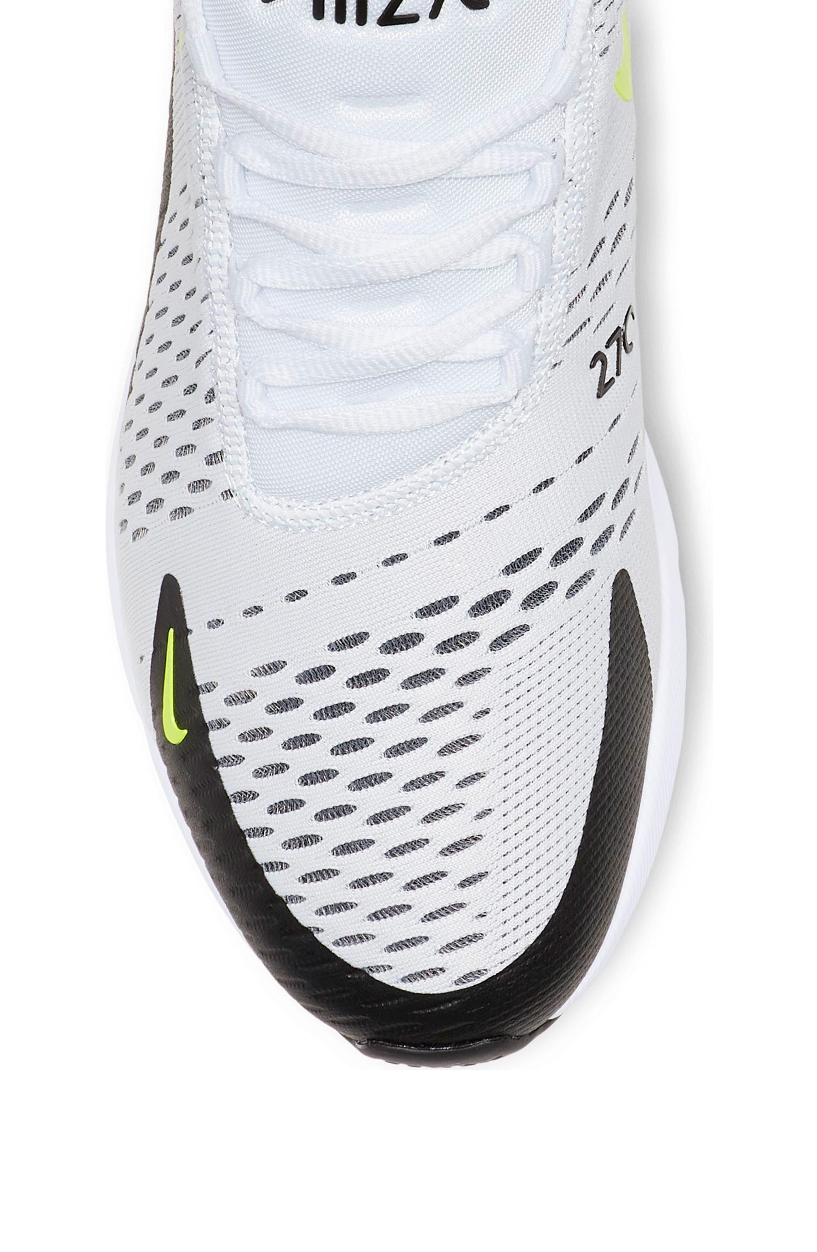 NIKE, Air Max 270 Sneaker, Alternate thumbnail 3, color, WHITE/ VOLT/ BLACK/ FUCHSIA