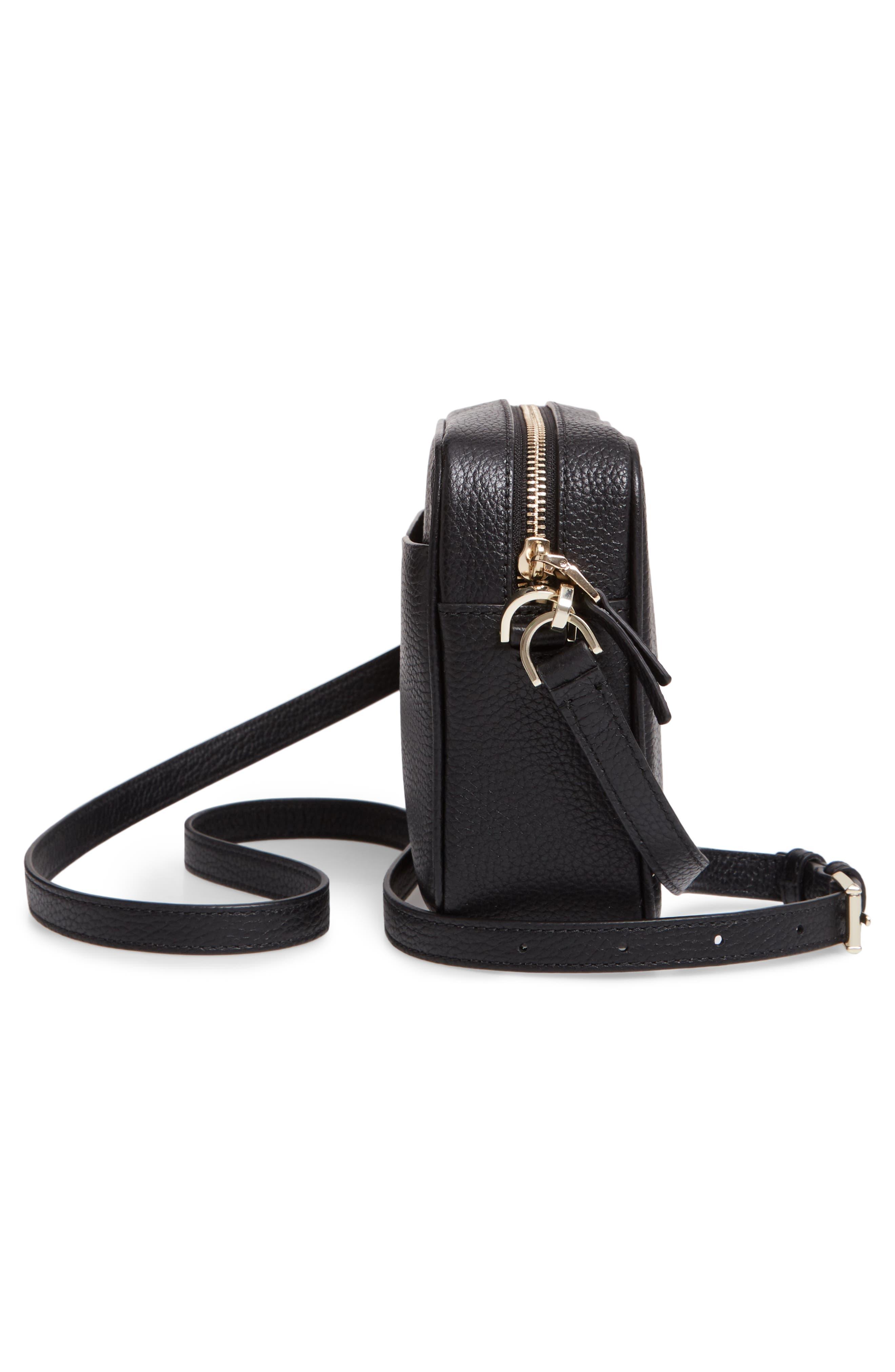 KATE SPADE NEW YORK, medium polly leather camera bag, Alternate thumbnail 6, color, BLACK