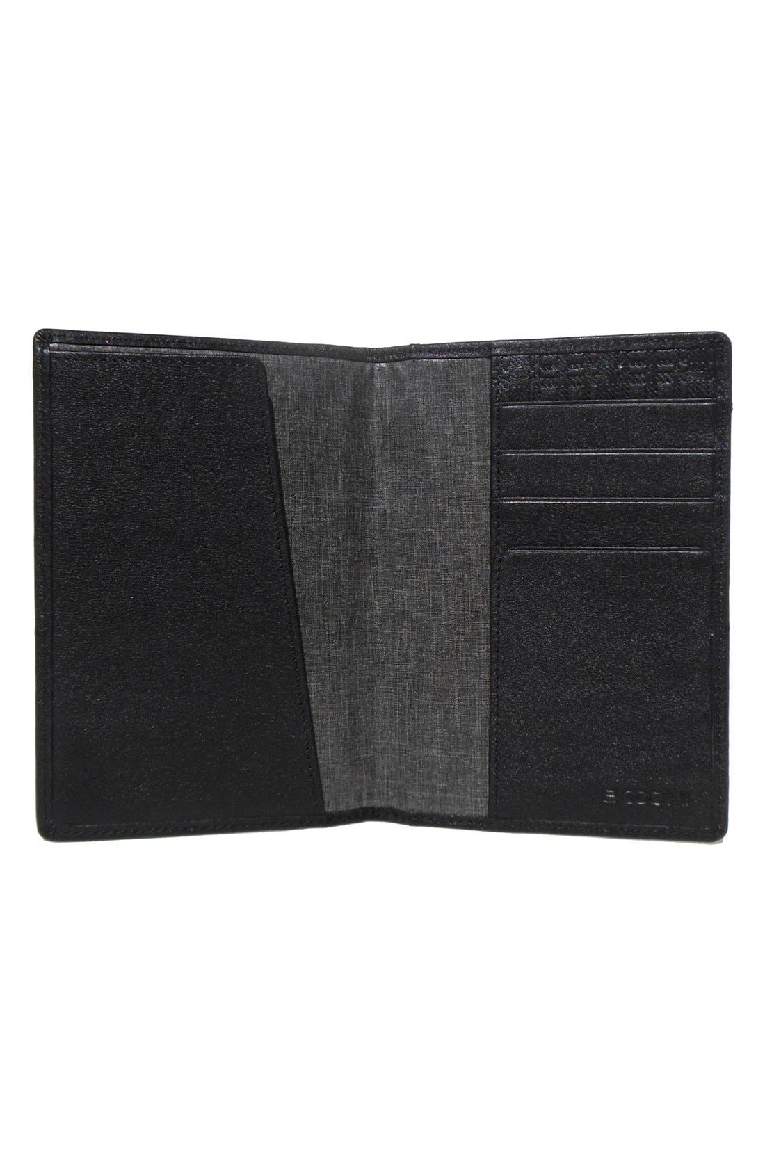 BOCONI, 'Grant' RFID Blocker Leather Passport Case, Main thumbnail 1, color, BLACK/ GREY