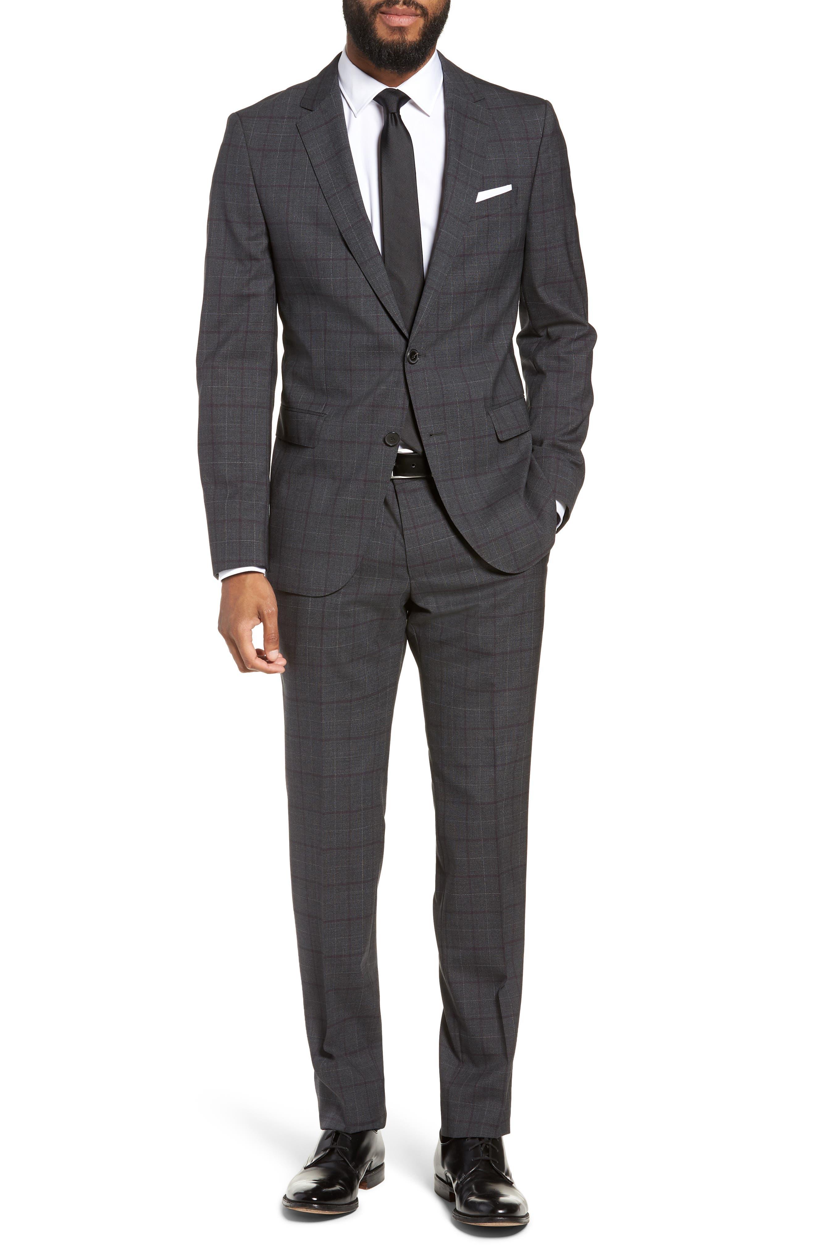 BOSS, Novan/Ben Trim Fit Plaid Wool Suit, Main thumbnail 1, color, 506