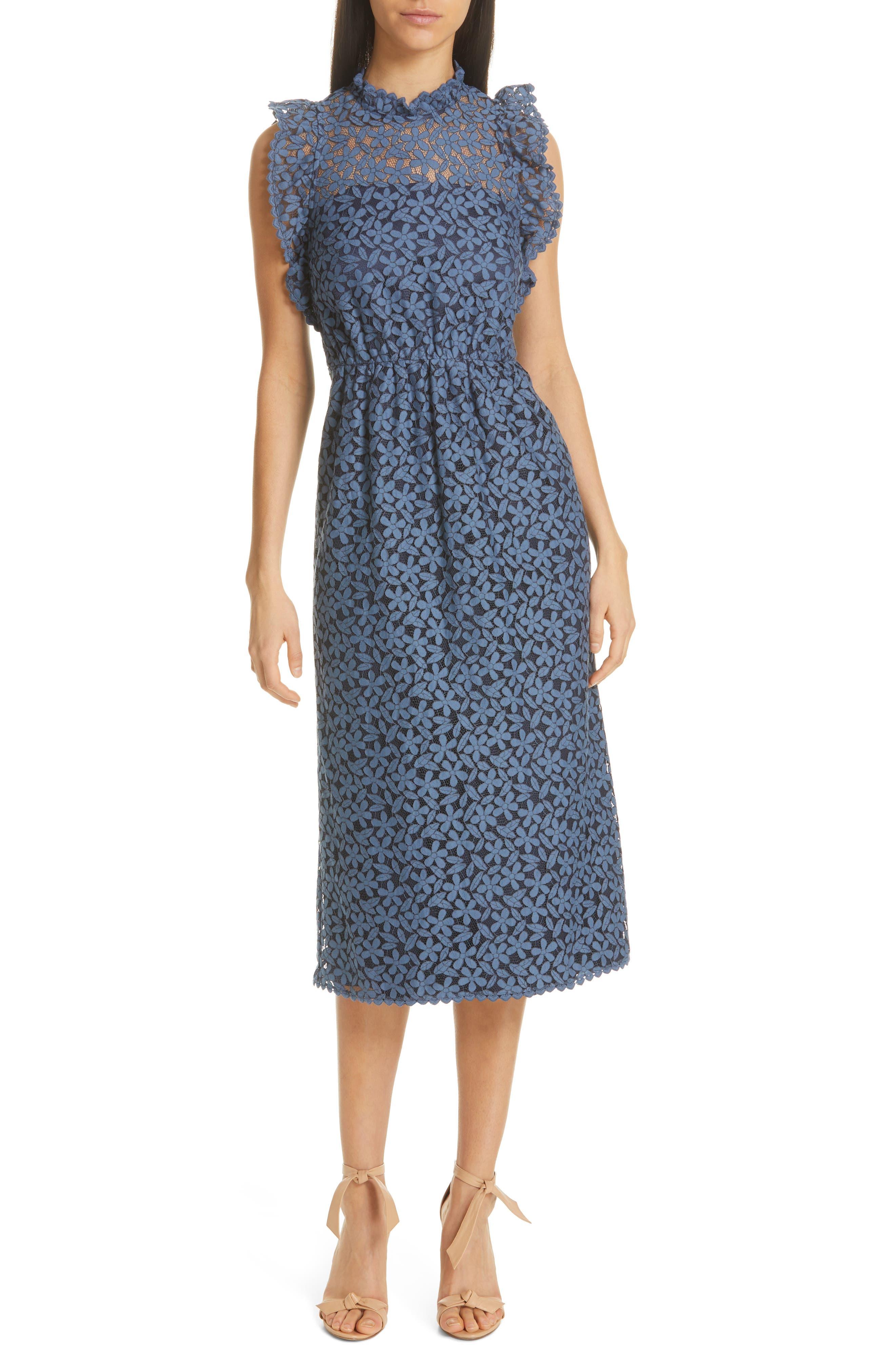 Kate Spade New York Flora Lace Ruffle Dress, Blue