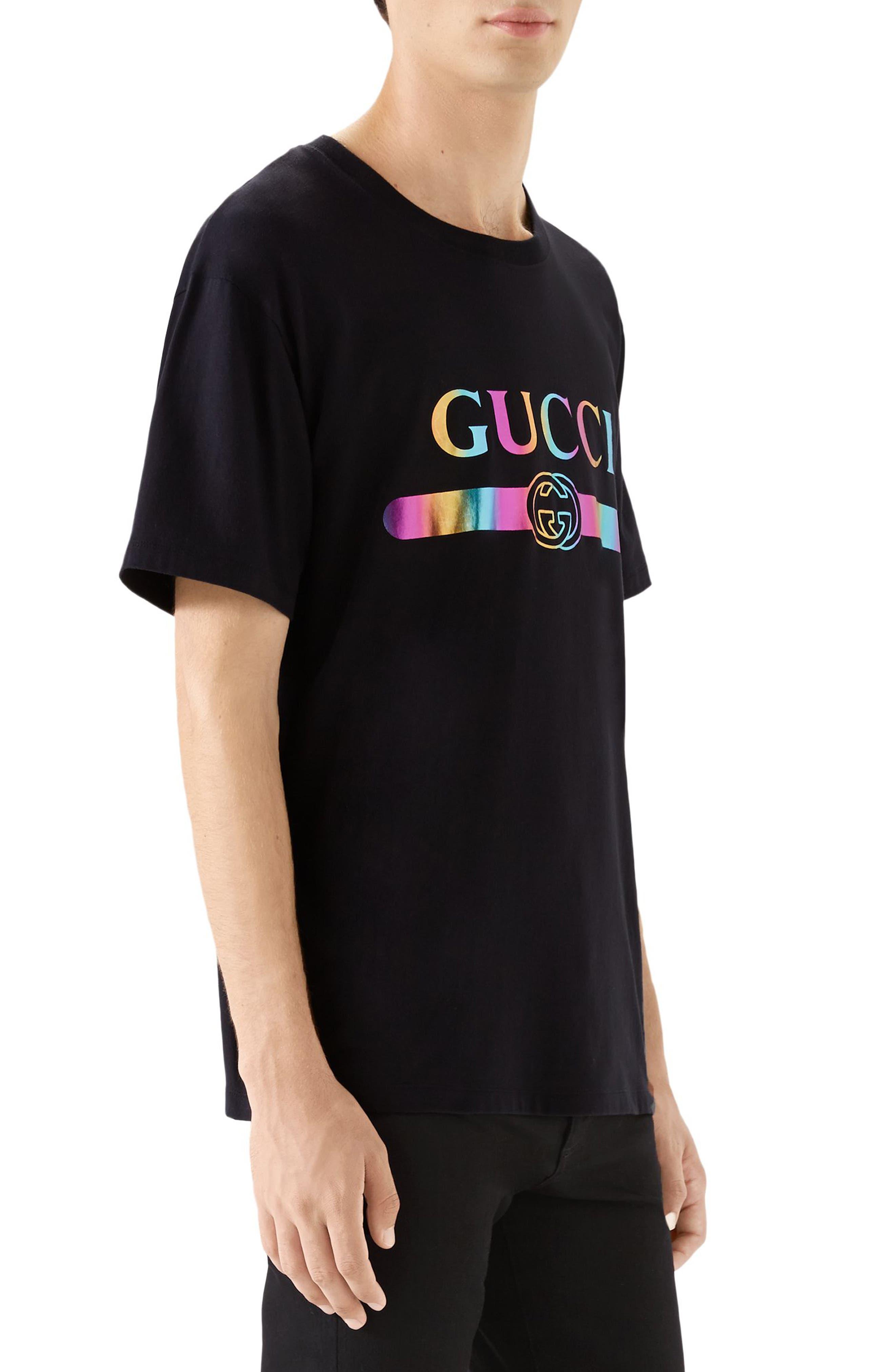 GUCCI, Iridescent Logo T-Shirt, Alternate thumbnail 3, color, BLACK MULTI