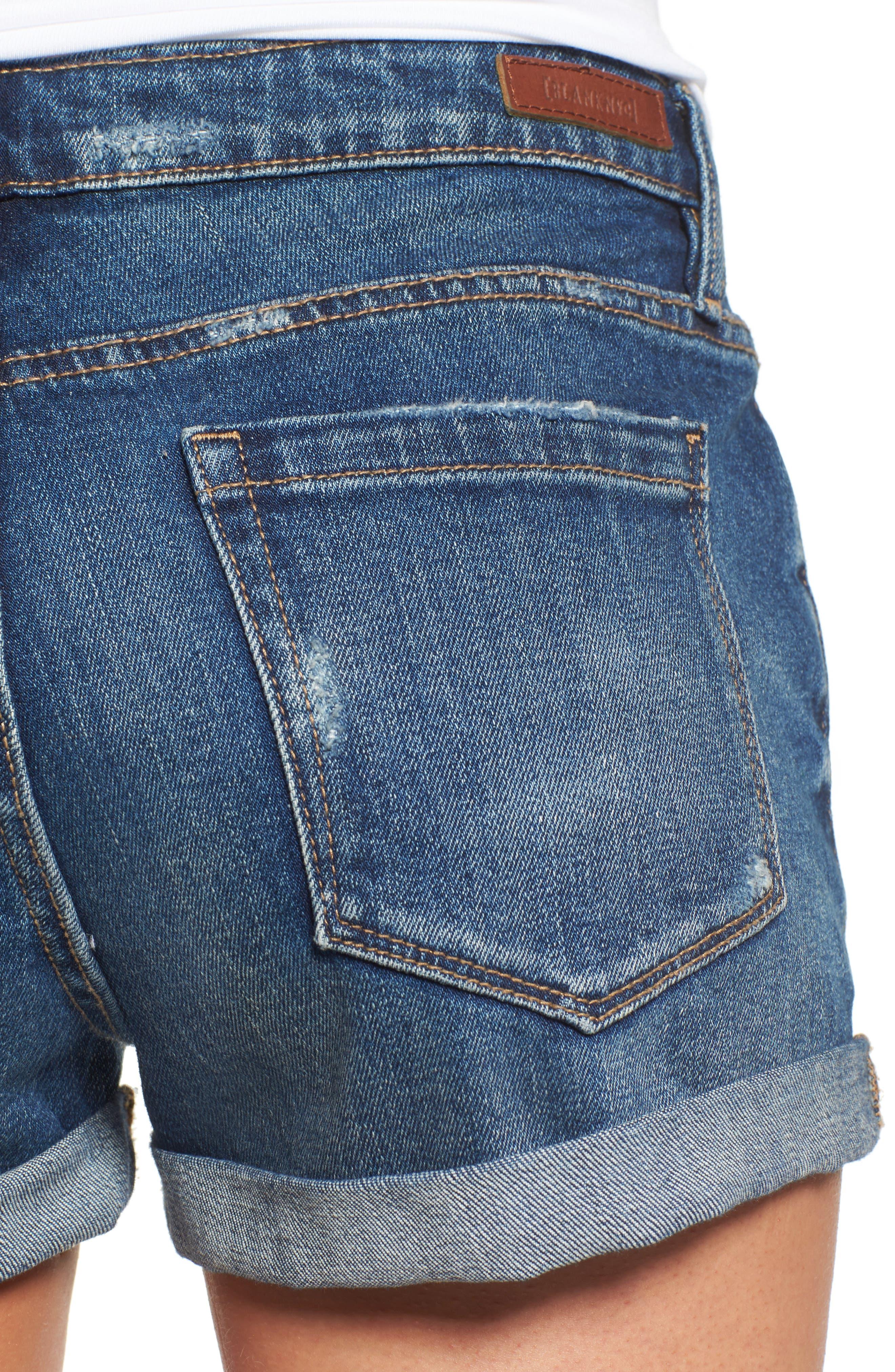 BLANKNYC, Boyfriend Denim Shorts, Alternate thumbnail 5, color, DRESS DOWN
