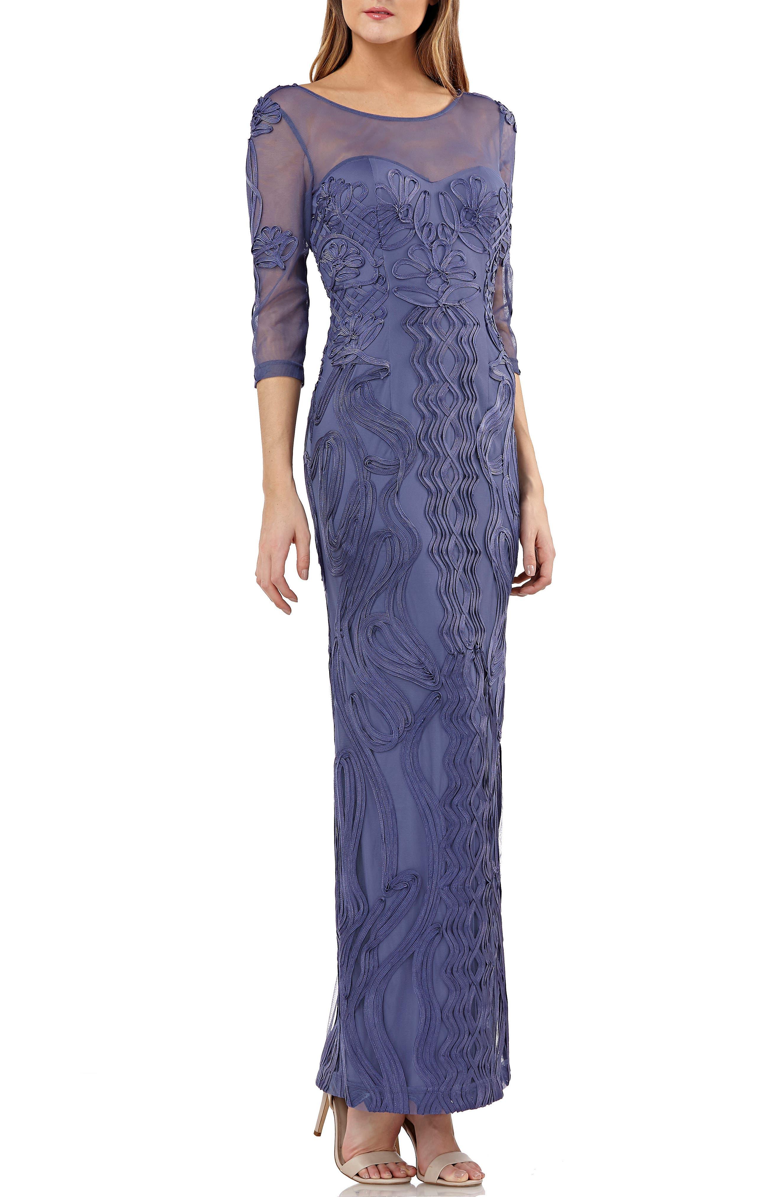 Js Collections Illusion Yoke Soutache Column Gown, Purple