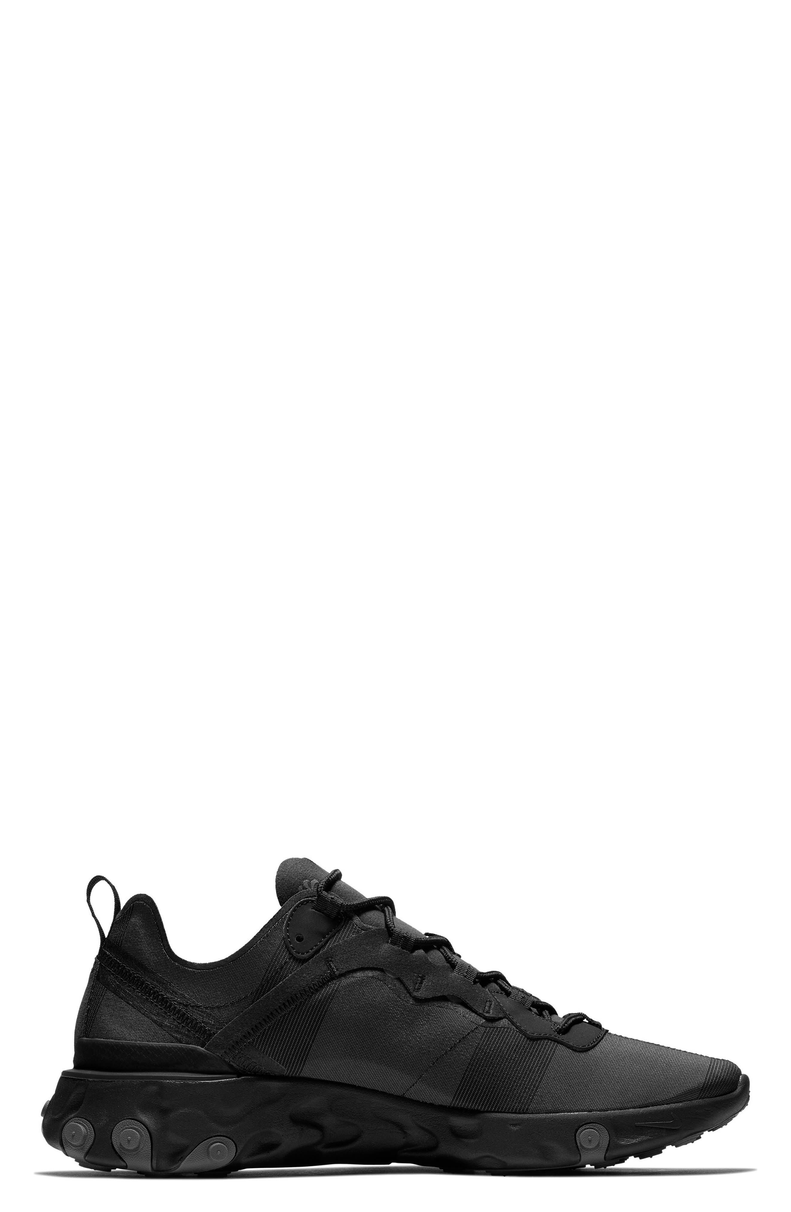 NIKE, React Element 55 Sneaker, Alternate thumbnail 3, color, BLACK/ DARK GREY