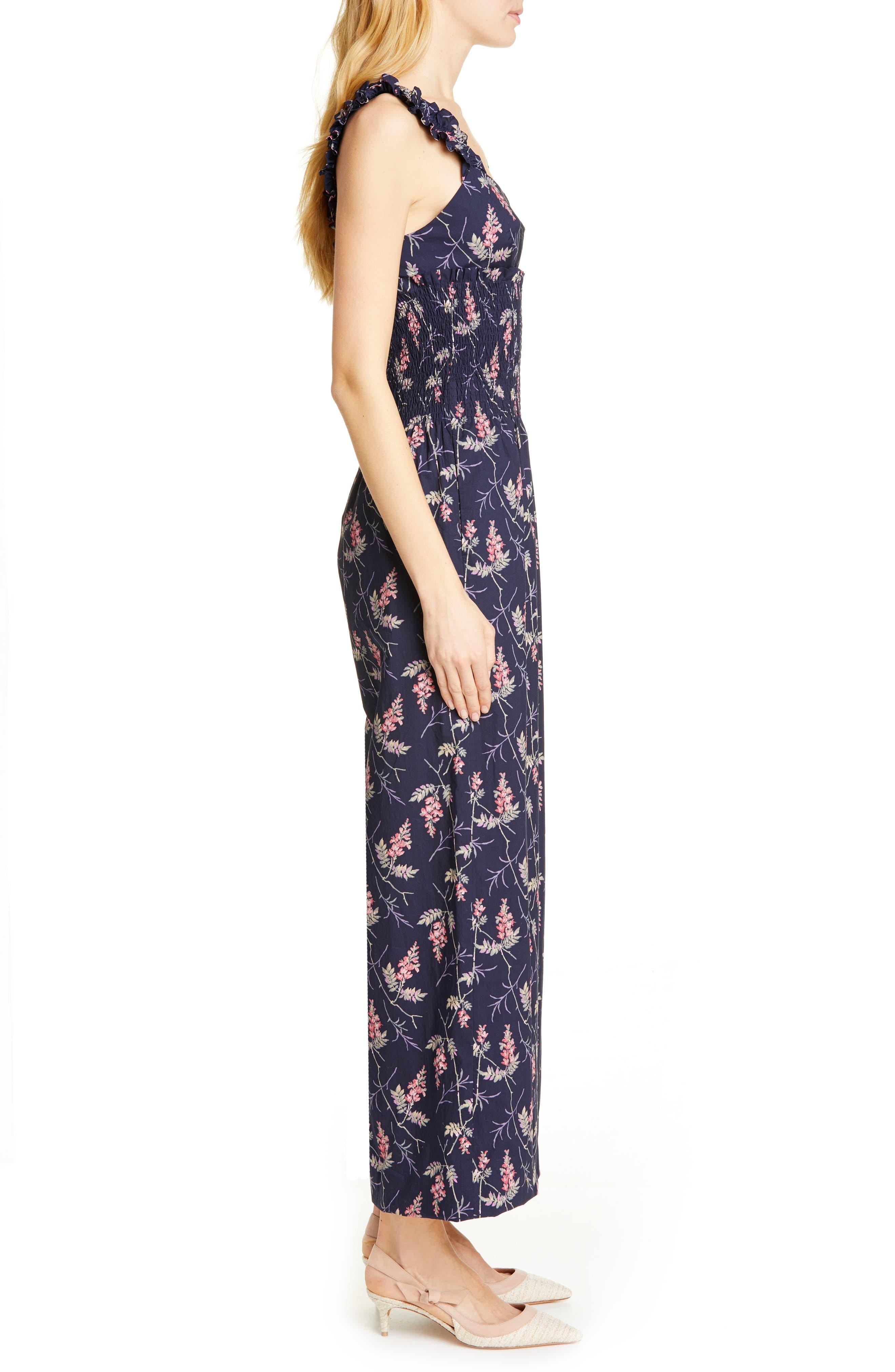 REBECCA TAYLOR, Ivie Floral Cotton Jumpsuit, Alternate thumbnail 3, color, NAVY COMBO