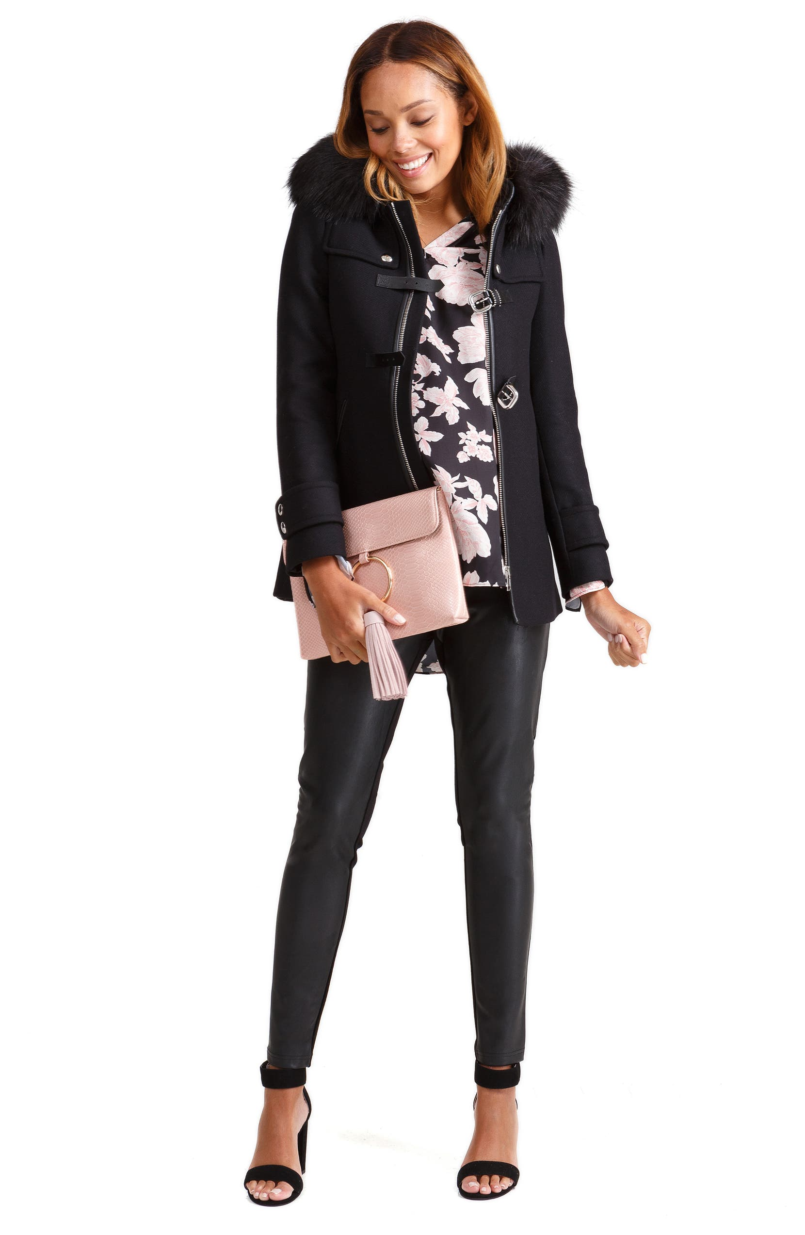 869c33db6f3a6 Ingrid & Isabel® Under Belly Faux Leather Maternity Leggings | Nordstrom