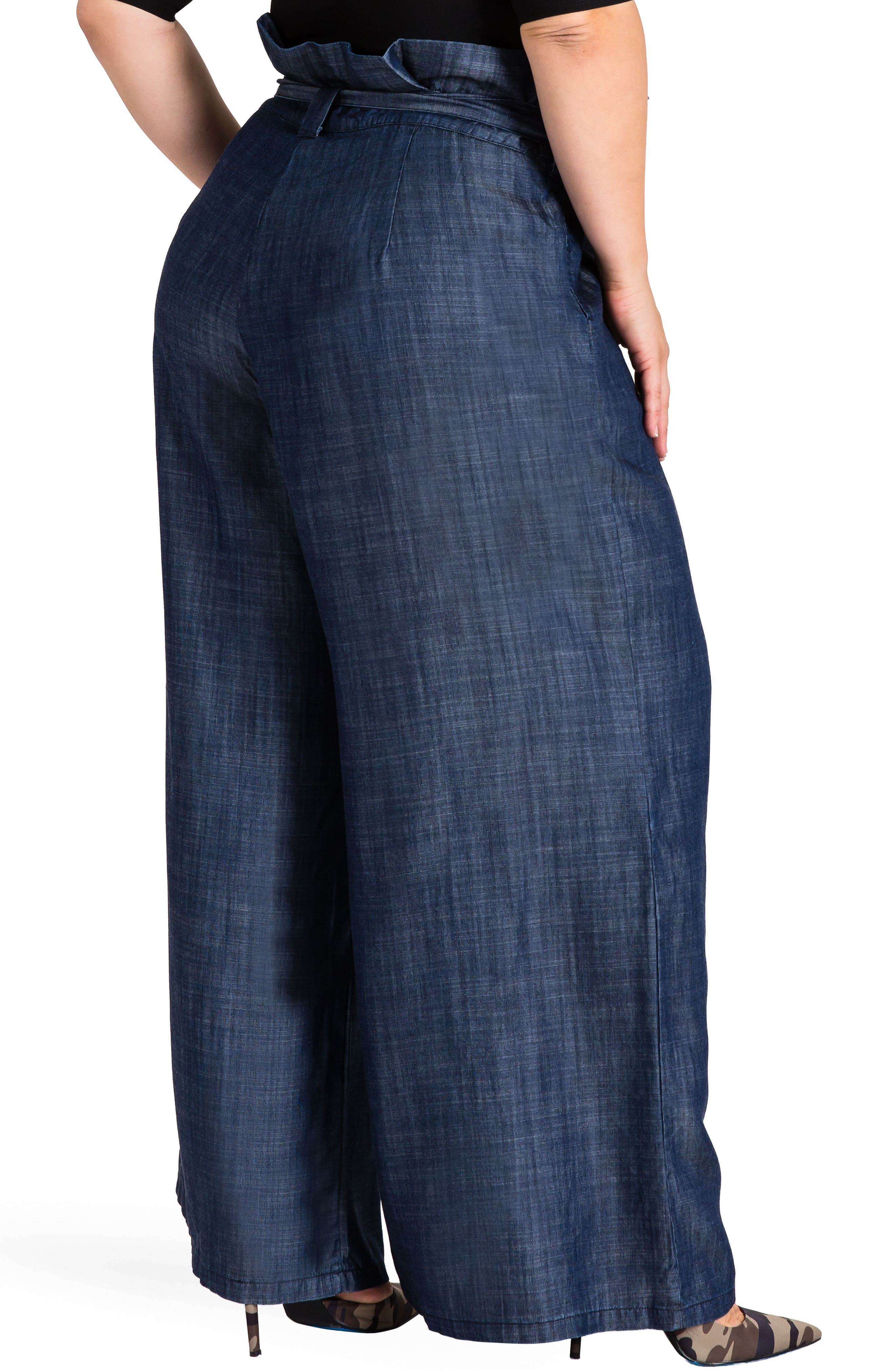 STANDARDS & PRACTICES, Cleo Wide Leg Pants, Alternate thumbnail 3, color, DARK BLUE