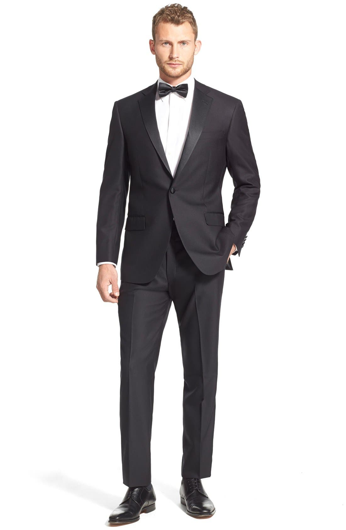 HART SCHAFFNER MARX, New York Classic Fit Black Wool Tuxedo, Alternate thumbnail 9, color, BLACK
